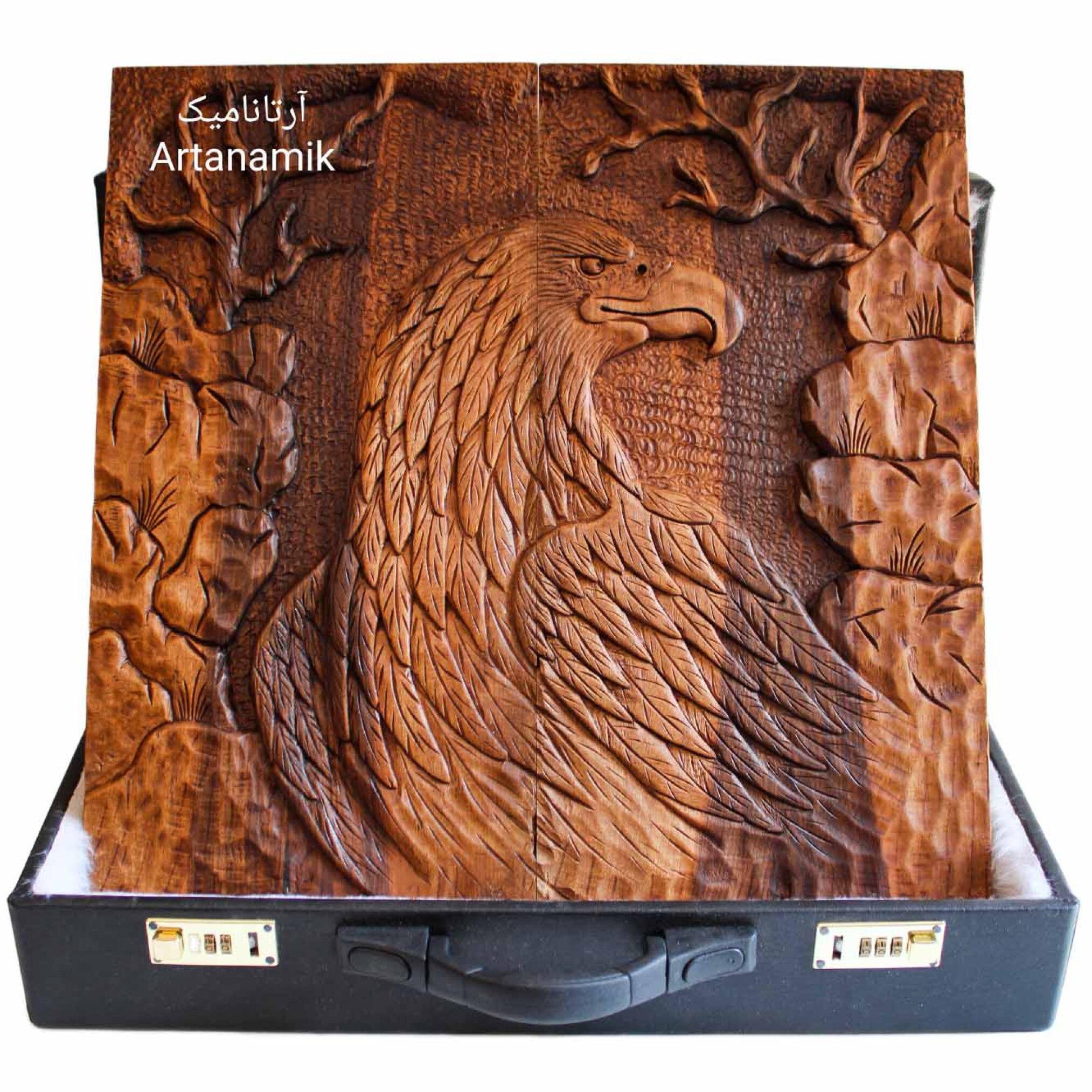 تخته نرد منبت کاری شده طرح عقاب، تخته نرد کادویی و تخته نرد نفیس روی چوب گردو