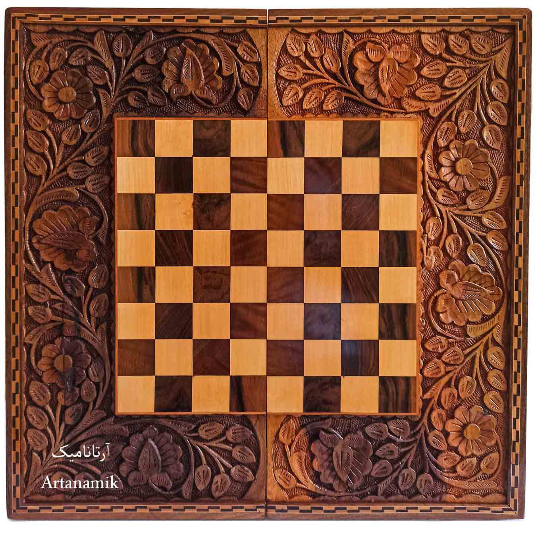 تخته نرد و شطرنج منبت کاری، تخته نرد کادویی و تخته نرد نفیس روی چوب گردو