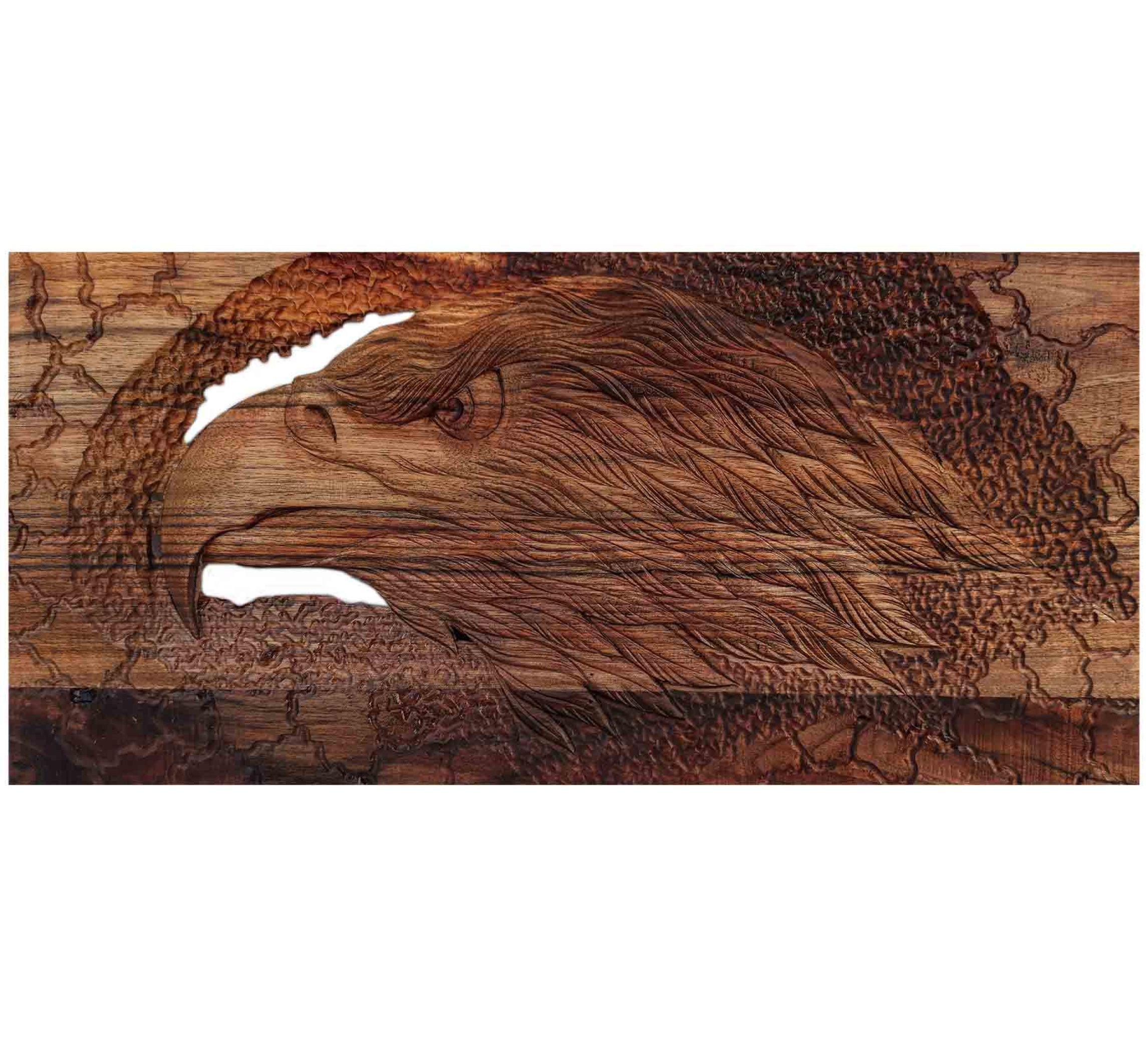 تابلو منبت طرح عقاب روی چوب گردو
