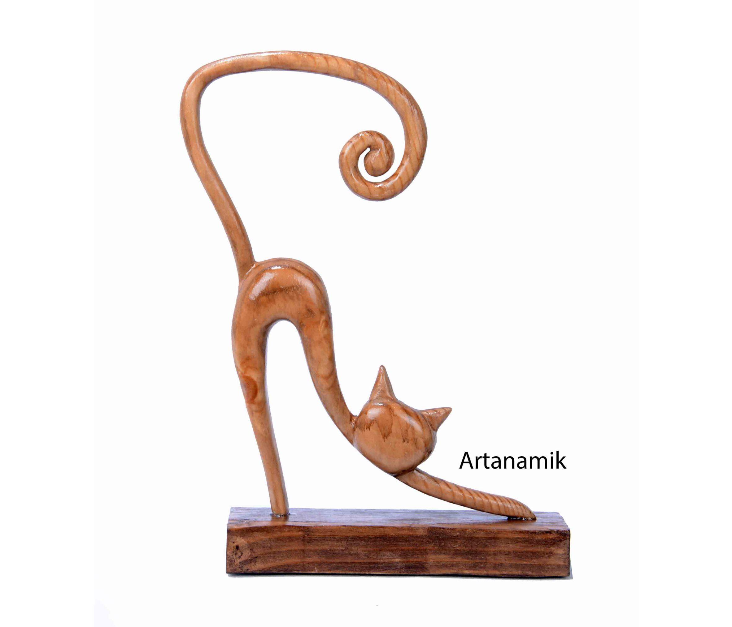 مجسمه چوبی طرح گربه، مجسمه دکوری و مجسمه کادویی چوبی