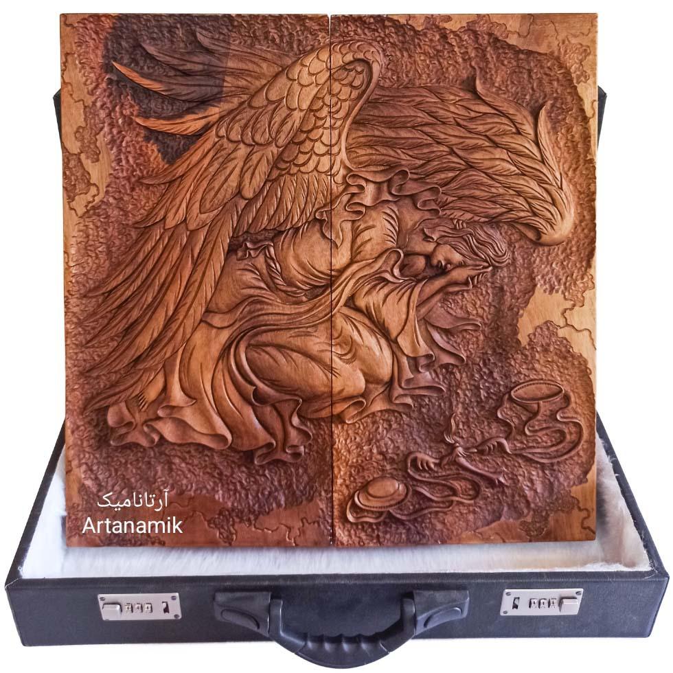 تخته نرد منبت کاری طرح فرشته عدالت، تخته نرد کادویی و تخته نرد نفیس روی چوب گردو