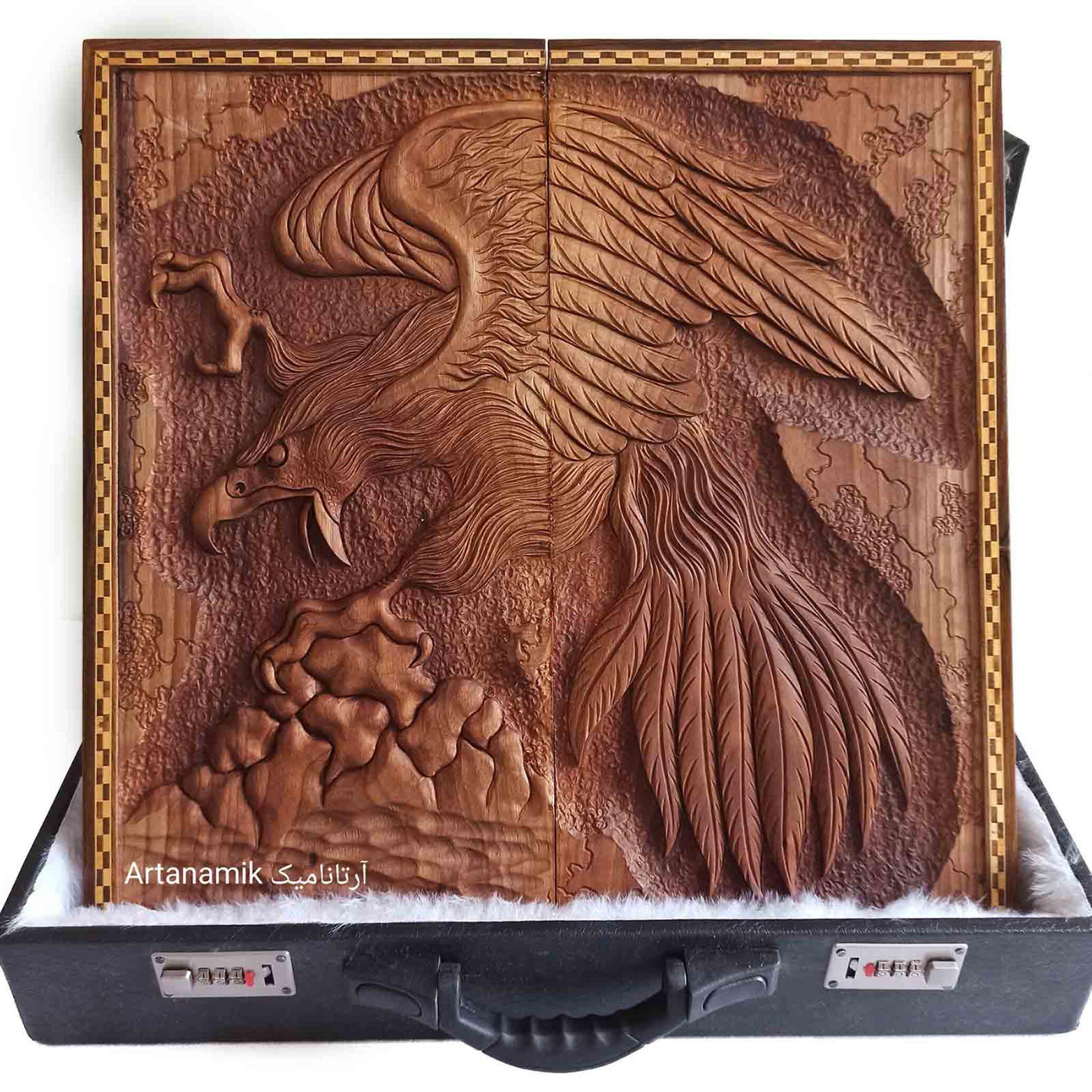 تخته نرد منبت کاری طرح عقاب - شکار، تخته نرد کادویی و تخته نرد نفیس روی چوب گردو