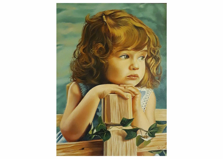 تابلو نقاشی دختر بچه سبک رئالیسم و با تکنیک رنگ روغن، تابلو نقاشی کادویی و تابلو نقاشی دکوری