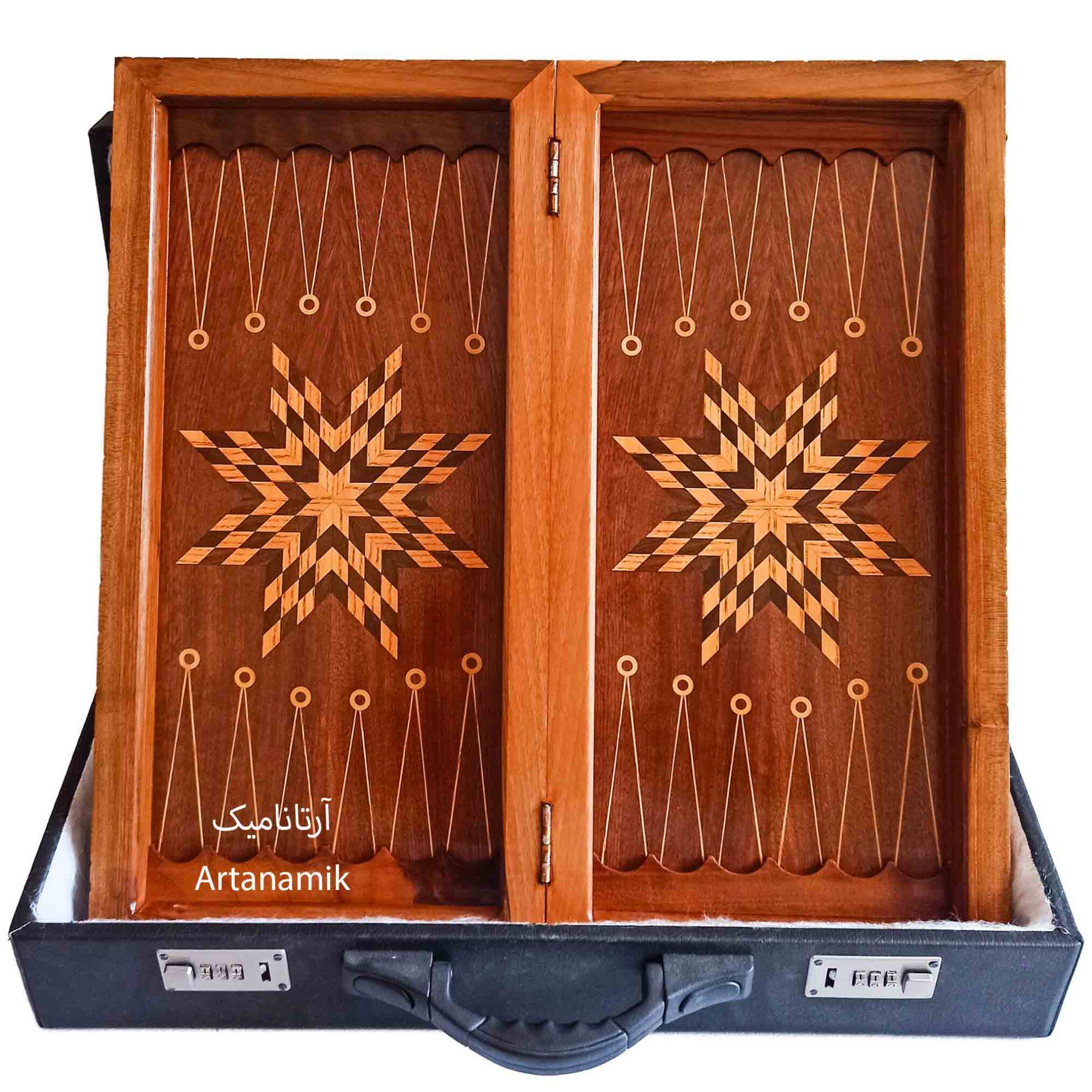داخل تخته نرد منبت کاری طرح فروهر، تخته نرد کادویی و تخته نرد نفیس ساخته شده از چوب گردو