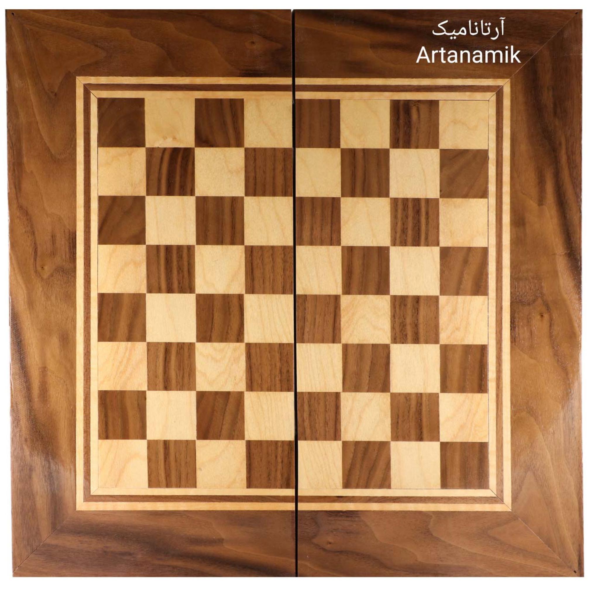 شطرنج کلاف گردو، تخته نرد کادویی همراه با کاور و مهره تخته نرد