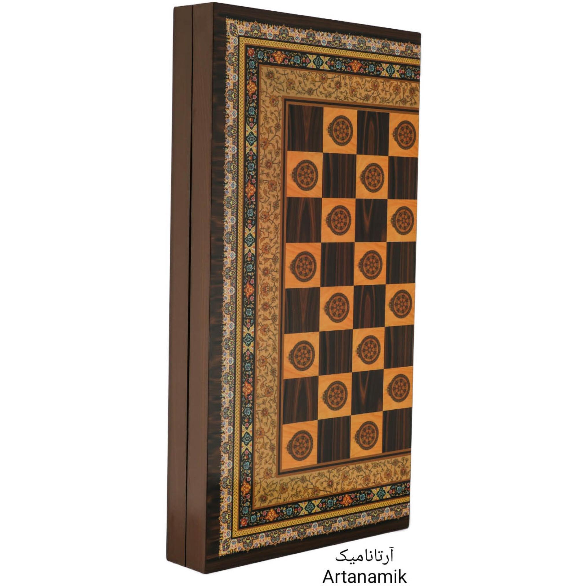 تخته نرد و شطرنج طرح تذهیب، تخته نرد کادویی و تخته نرد نفیس از جنس چوب روس