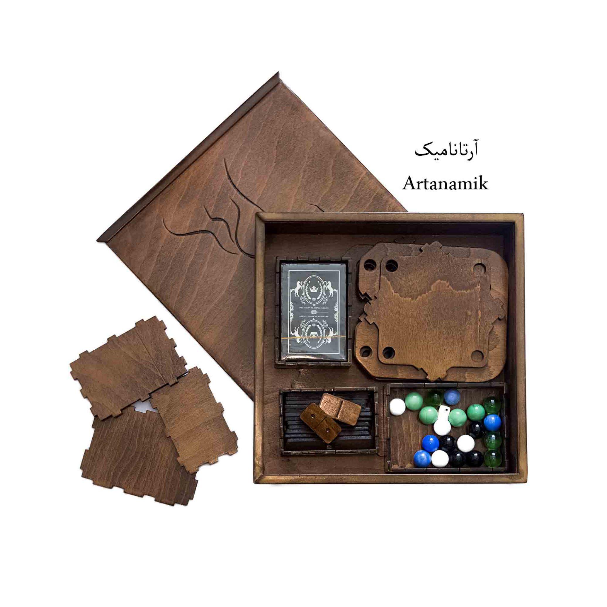 باکس شامل 4 بازی : منچ 4 نفره، منچ 6 نفره، دومینو ، کارت.