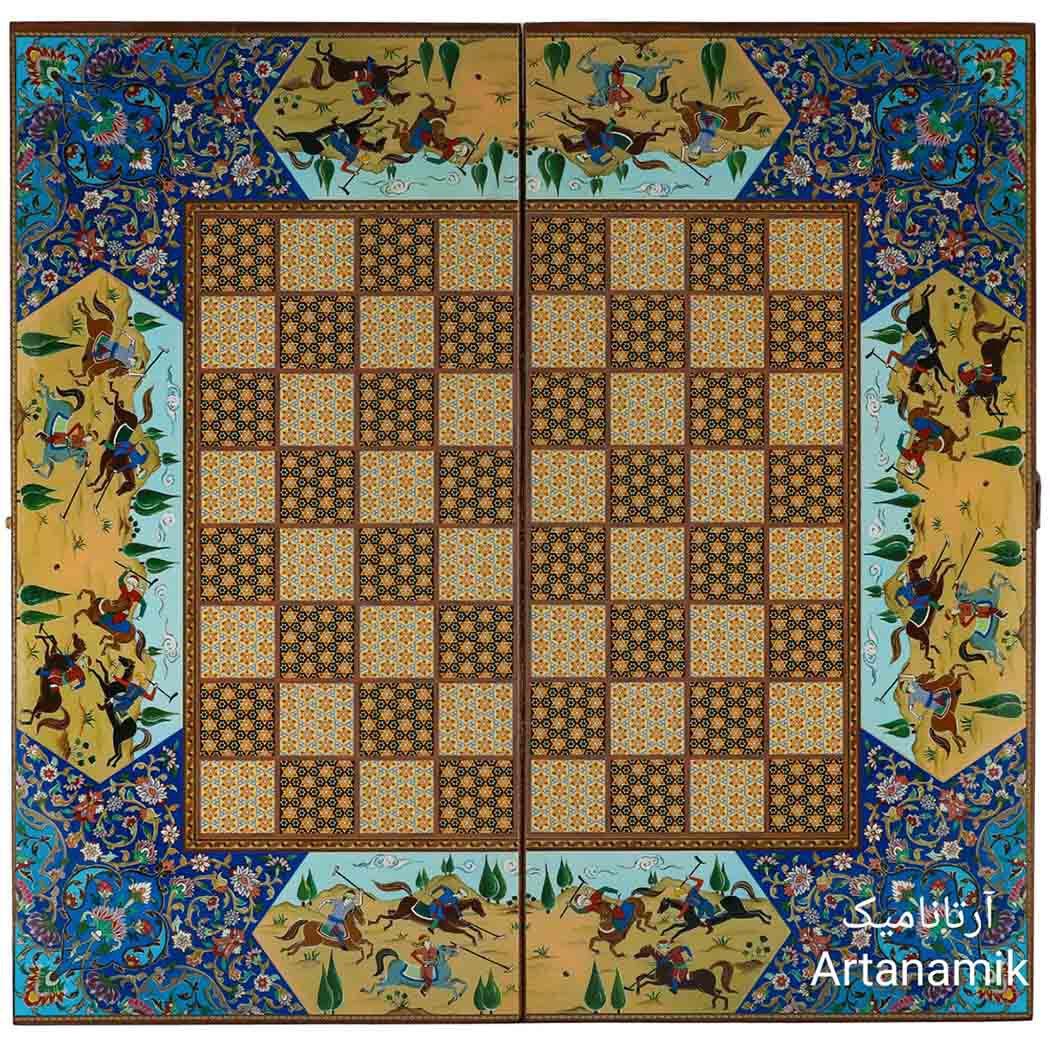 شطرنج طرح خاتم چوگان آبی، تخته نرد کادویی و تخته نرد نفیس از جنس چوب روس