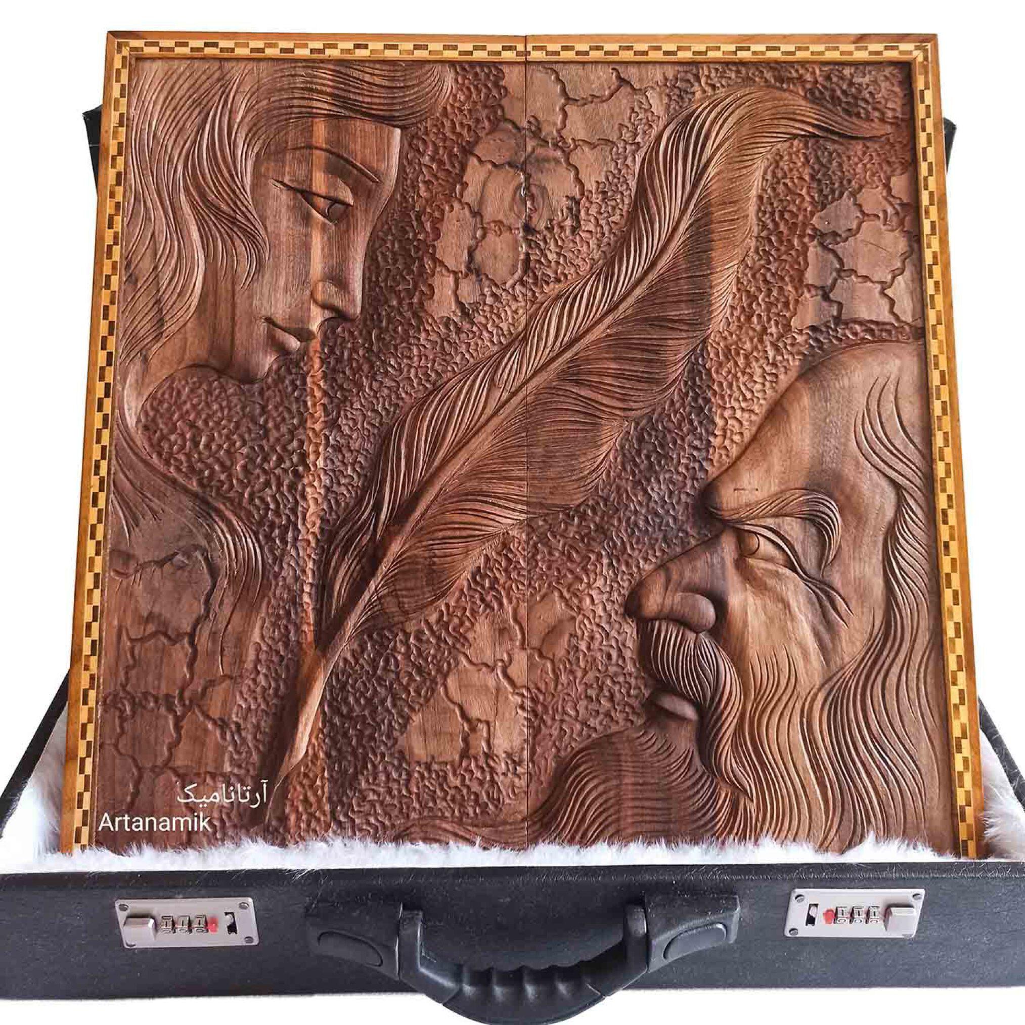تخته نرد منبت کاری طرح شاعر و معشوق، تخته نرد کادویی و تخته نرد نفیس روی چوب گردو
