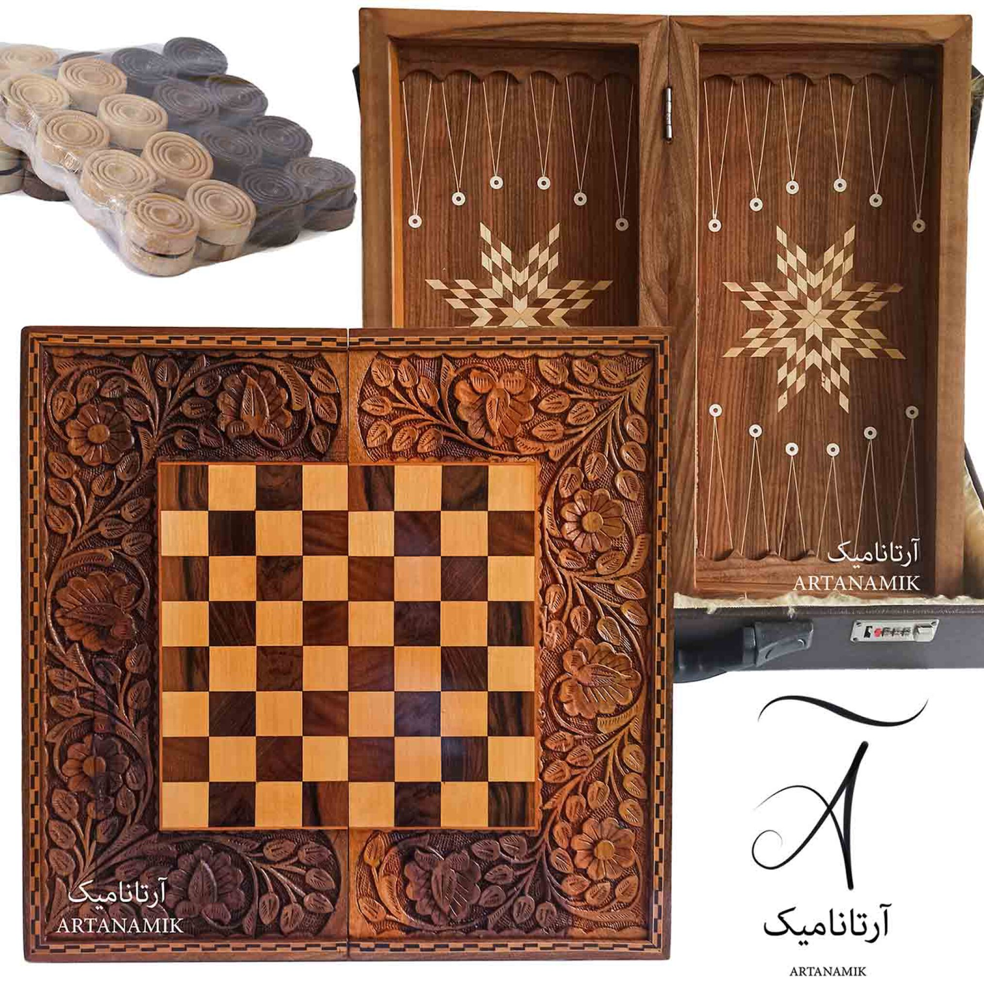 خرید تخته نرد و شطرنج منبت کاری، تخته نرد کادویی و تخته نرد نفیس روی چوب گردو