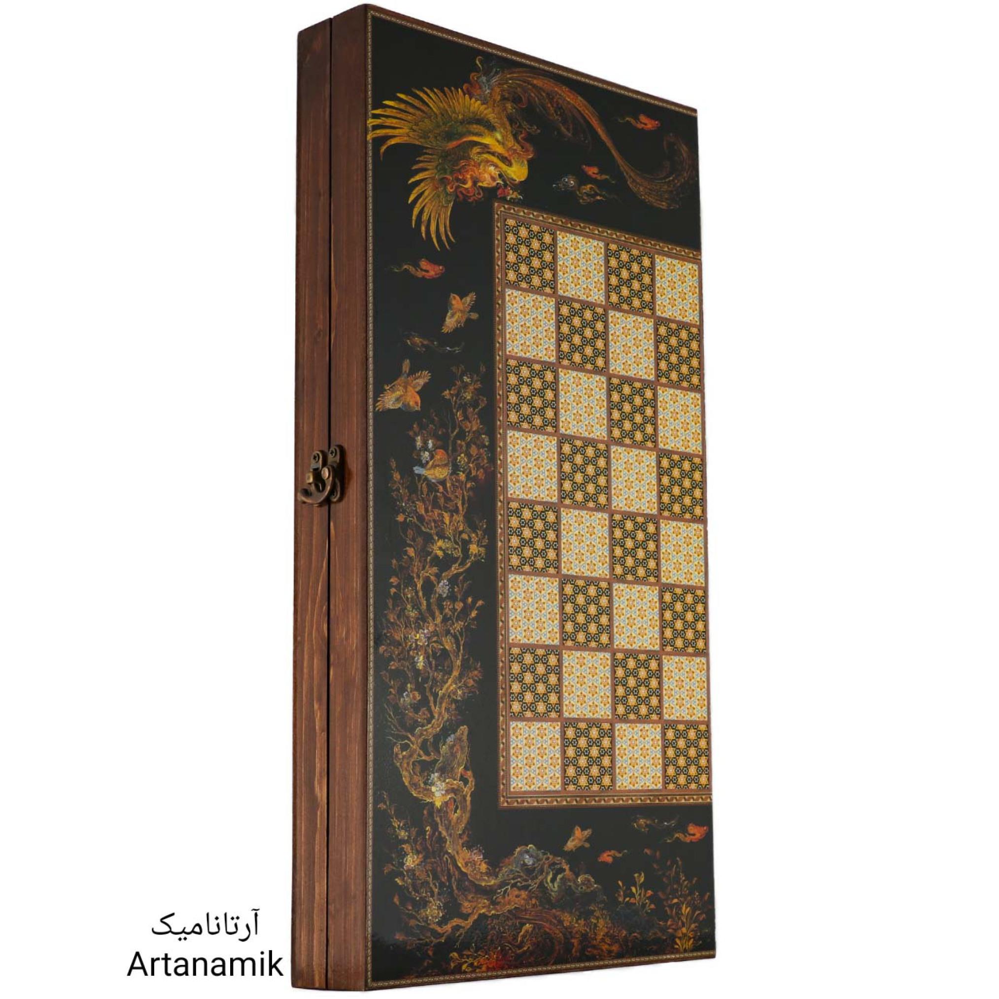 تخته نرد و شطرنج طرح سیمرغ، تخته نرد کادویی و تخته نرد نفیس از جنس چوب روس