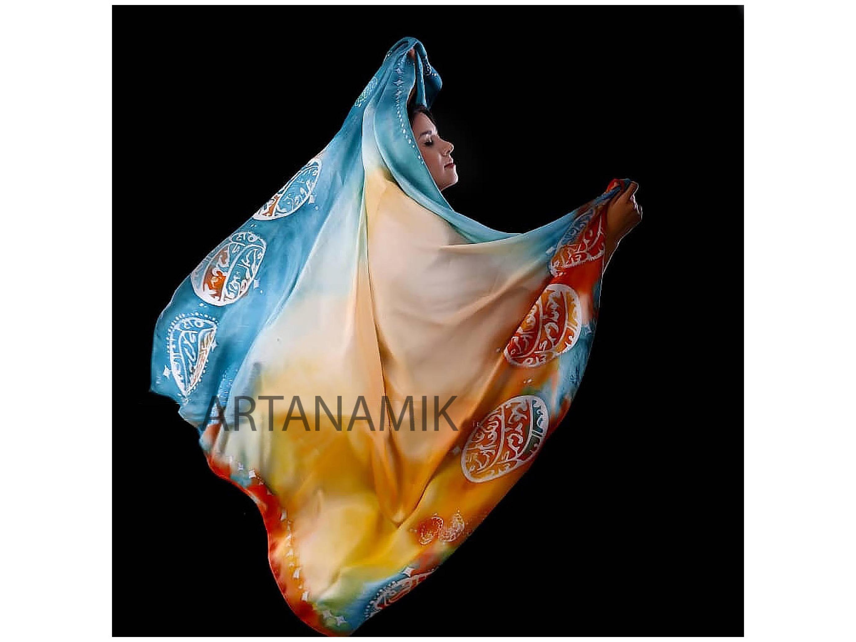 روسری ابریشم طبیعی با هنر چاپ باتیک