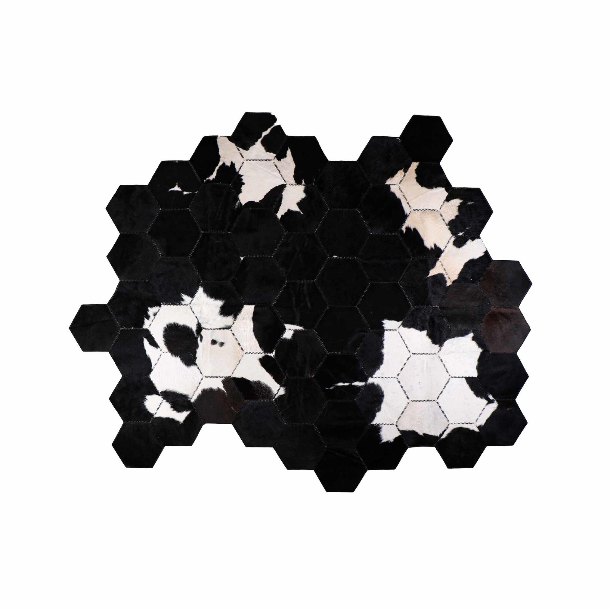 فرش دست دوز چرم طبیعی مدل شش ضلعی