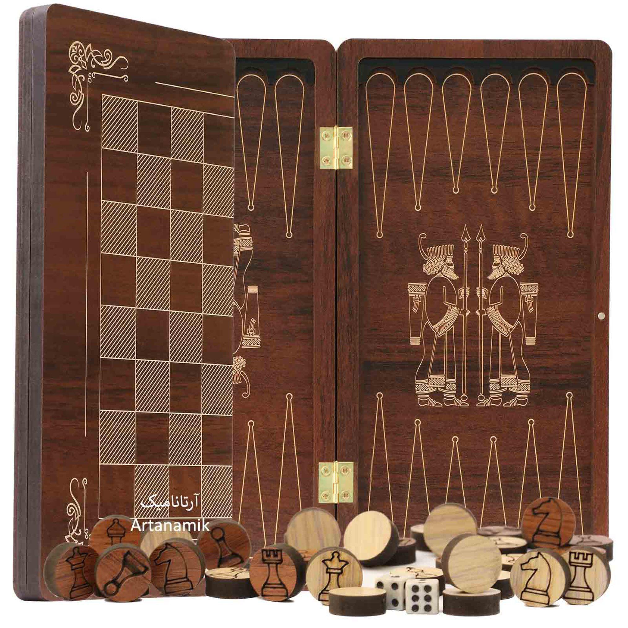 تخته نرد و شطرنج مسافرتی کادویی طرح سر ستون هخامنشی همراه با کیف