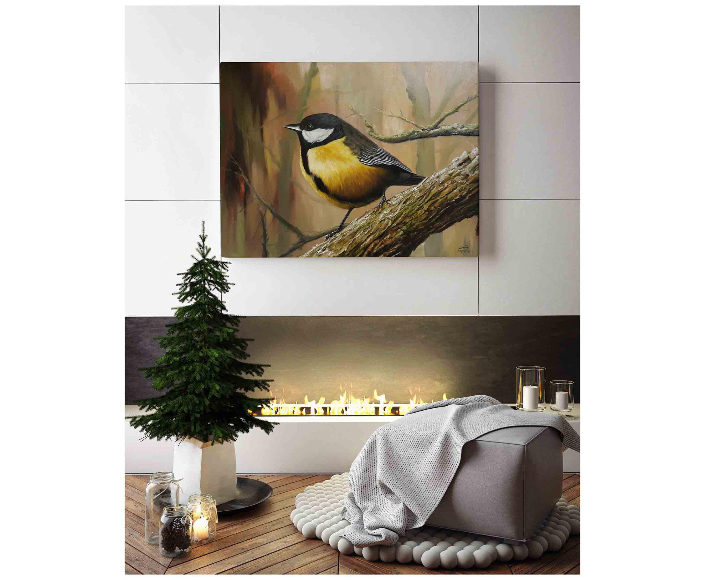 تابلو نقاشی پرنده سبک رئالیسم، با تکنیک رنگ روغن، تابلو نقاشی کادویی و تابلو نقاشی دکوری