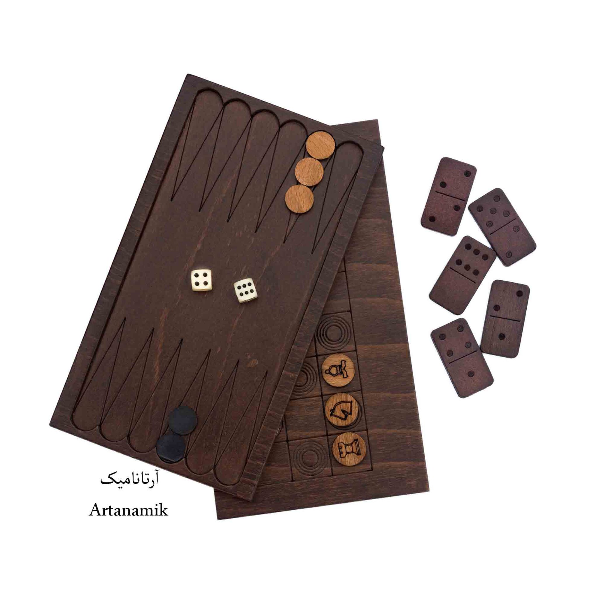 باکس بازی چوبی سه میل راش طبیعی شامل تخته نرد کادویی ، شطرنج کادویی و دومینو
