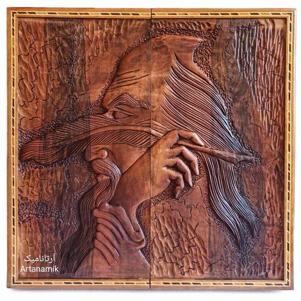 تخته نرد منبت کاری طرح شاعر، تخته نرد کادویی و تخته نرد نفیس روی چوب گردو