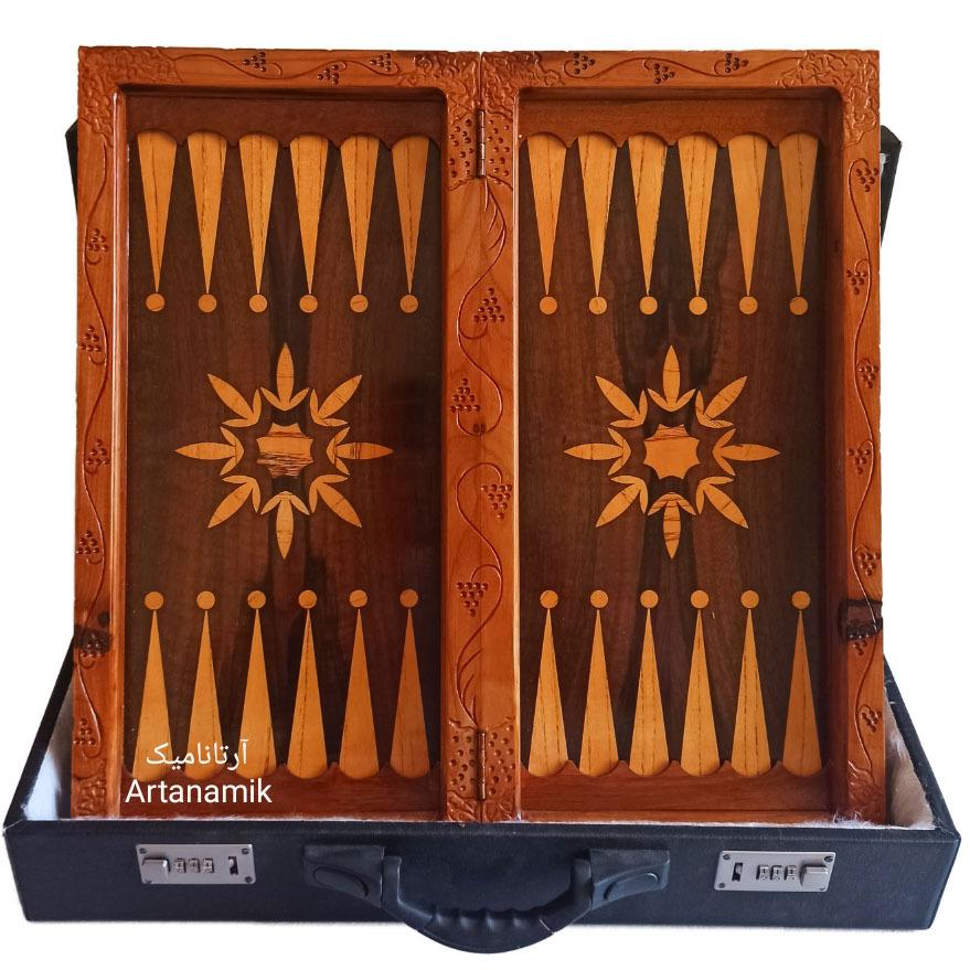 داخل تخته نرد منبت کاری طرح آدم و فرشته، تخته نرد کادویی و تخته نرد نفیس ساخته شده از چوب گردو