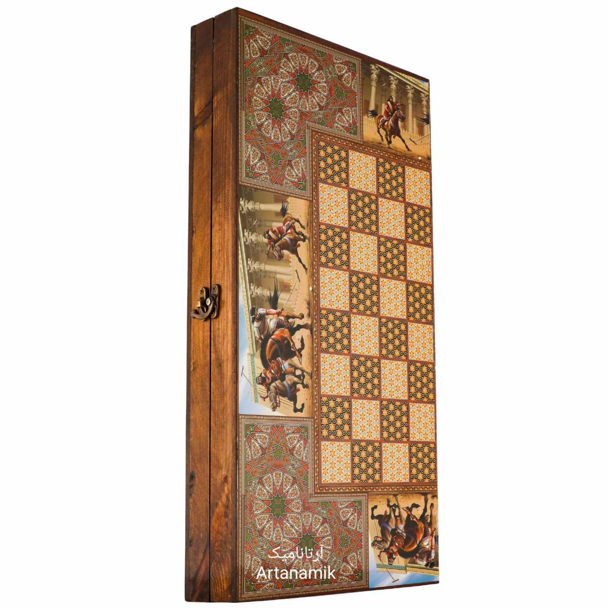 تخته نرد و شطرنج طرح خاتم چوگان هخامنشی، تخته نرد کادویی و تخته نرد نفیس از جنس چوب روس