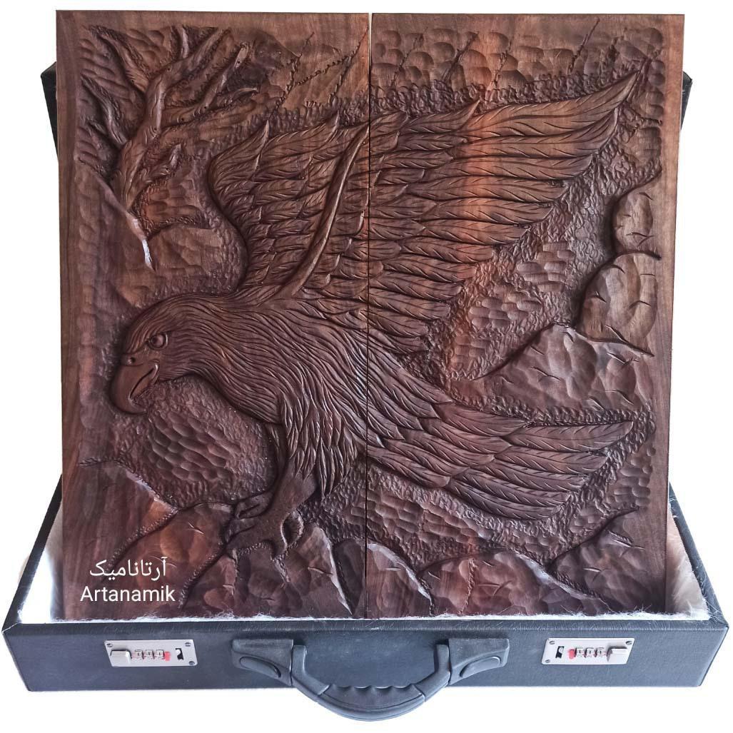 تخته نرد منبت کاری طرح عقاب و کوه، تخته نرد کادویی و تخته نرد نفیس روی چوب گردو