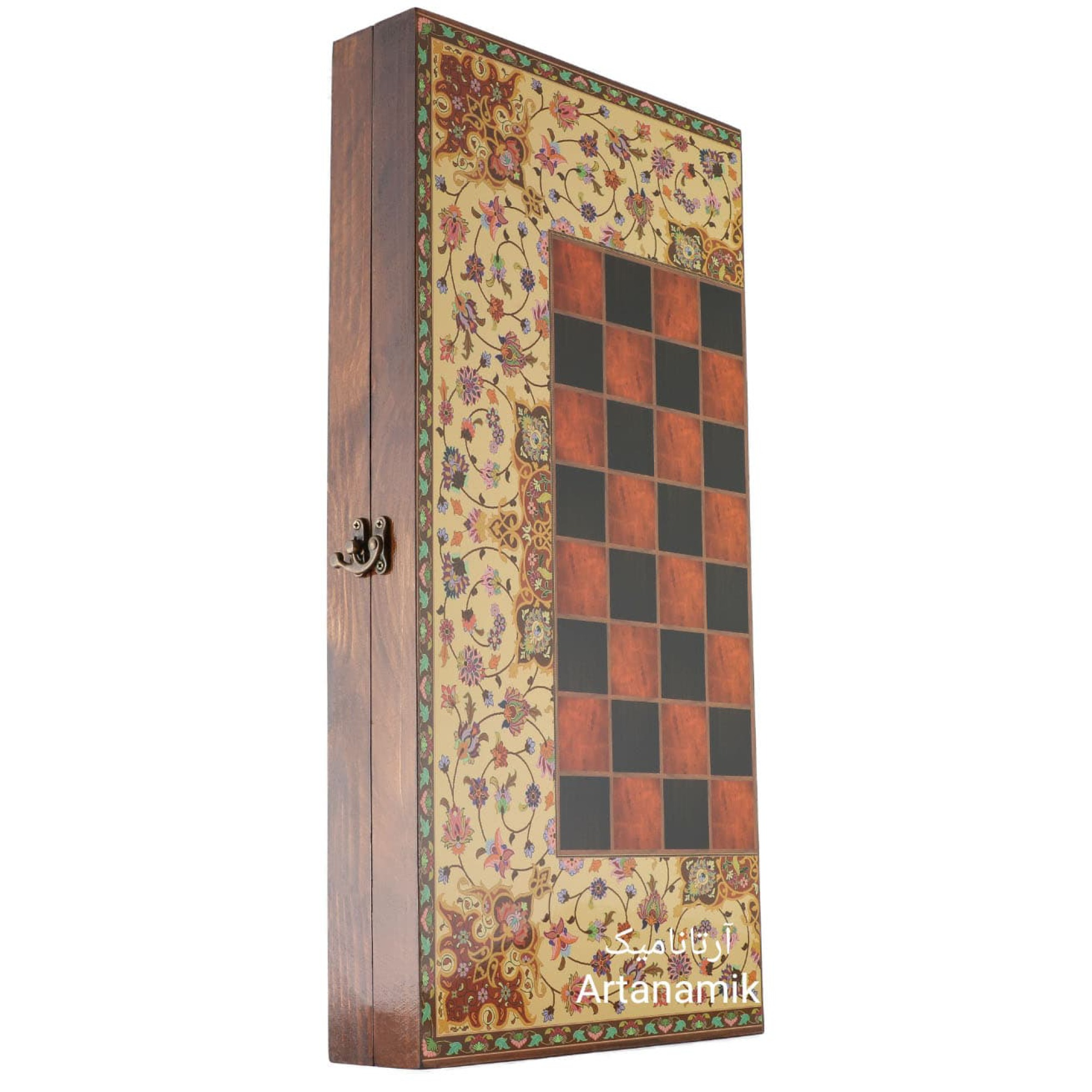 تخته نرد و شطرنج کادویی طرح ترنج، تخته نرد کادویی، تخته نرد نفیس از جنس چوب روس