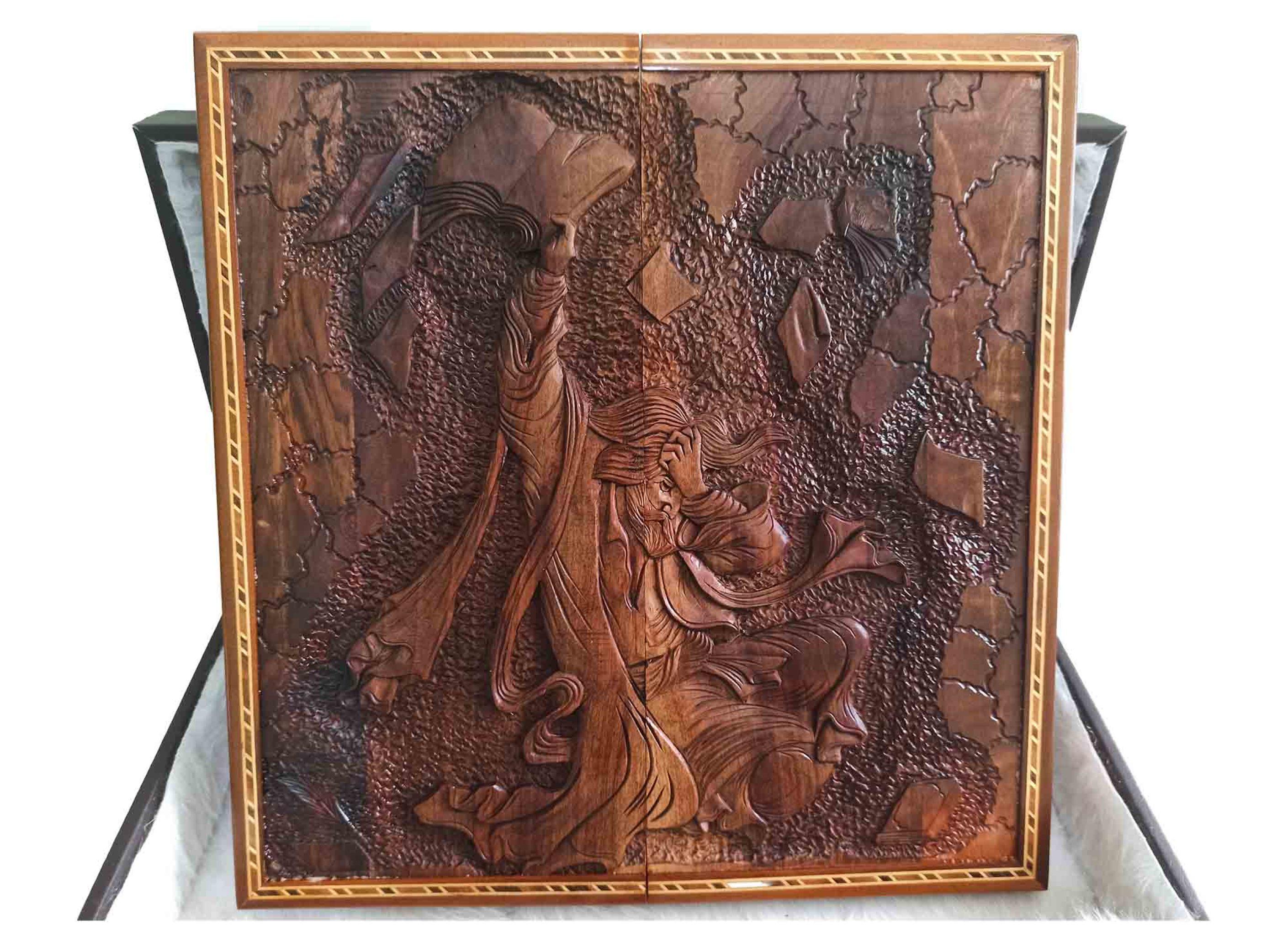 تخته نرد منبت طرح برباد روی چوب گردو
