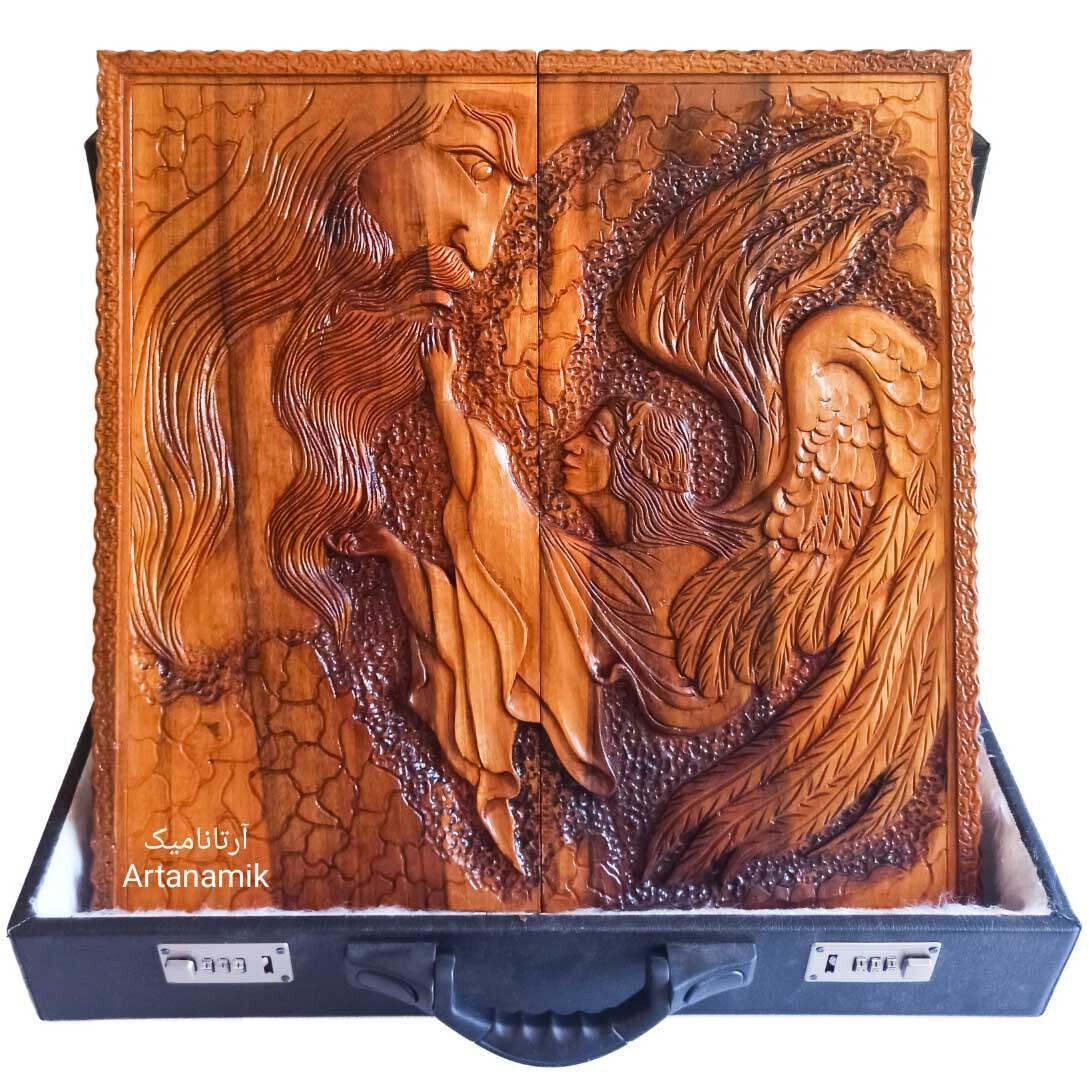 تخته نرد منبت کاری طرح آدم و فرشته، تخته نرد کادویی و تخته نرد نفیس ساخته شده از چوب گردو