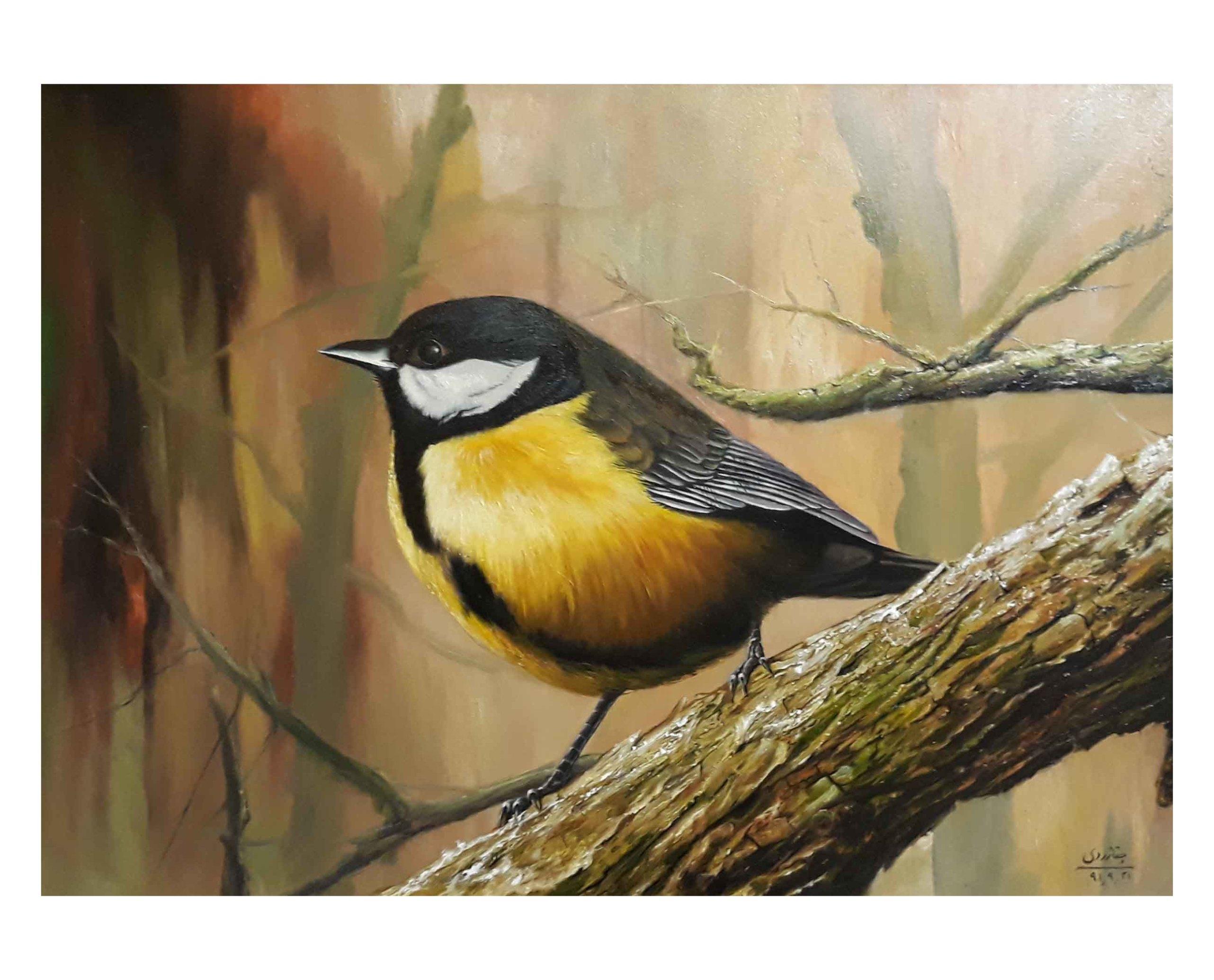 تابلو نقاشی پرنده به سبک رئالیسم، با تکنیک رنگ روغن