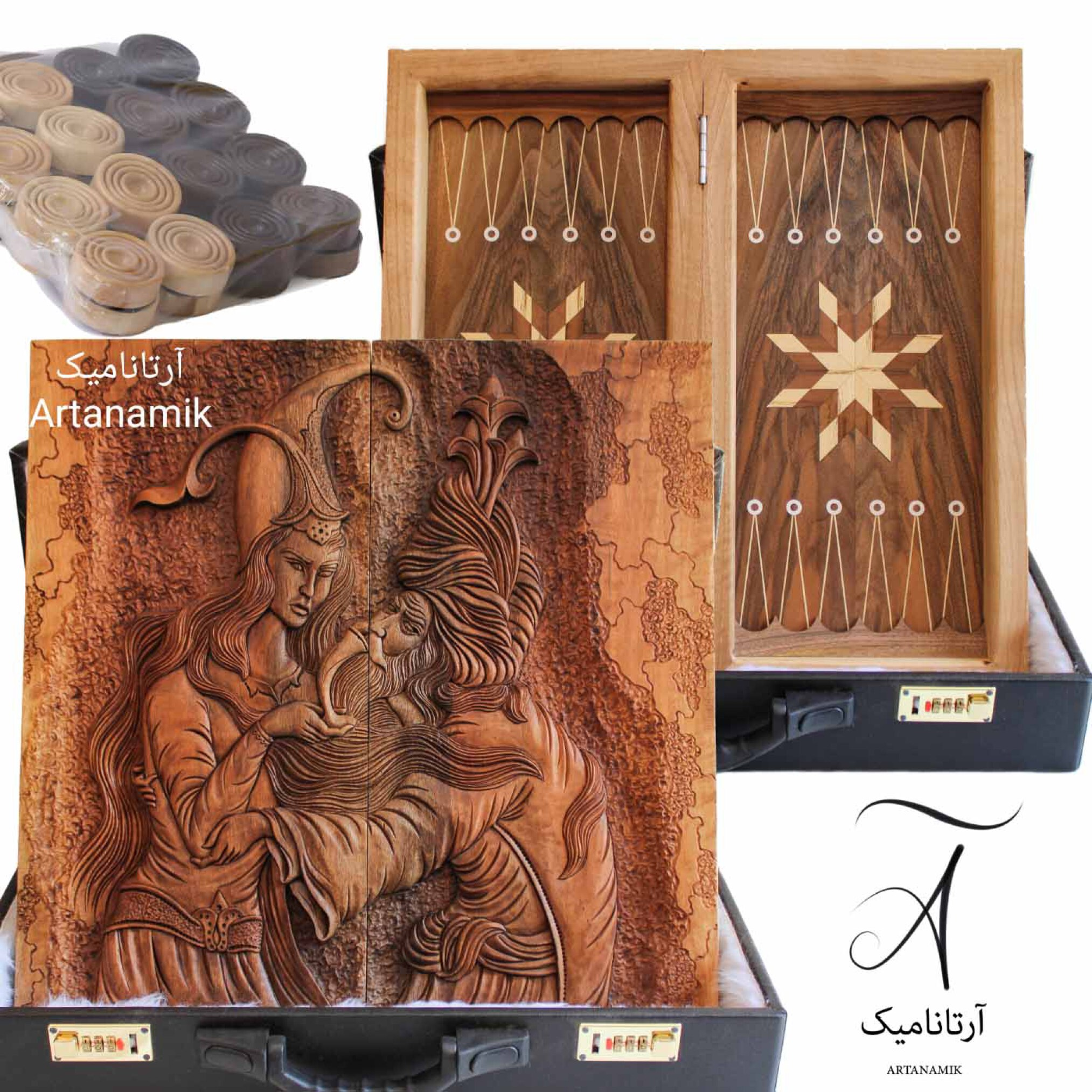 تخته نرد منبت کاری طرح شیخ صنعان، تخته نرد کادویی و تخته نرد نفیس، ساخته شده از چوب گردو