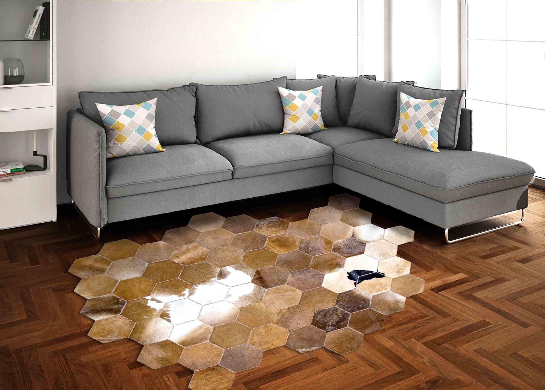 فرش چرم طبیعی دست دوز مدل شش ضلعی
