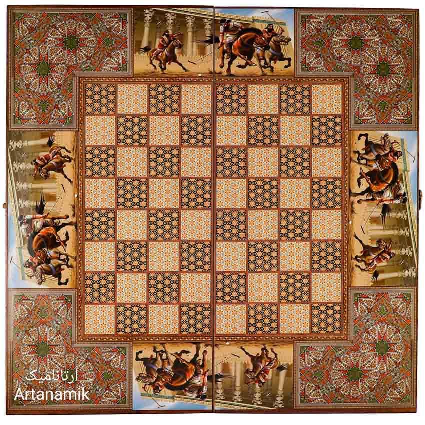 بیرون تخته نرد و شطرنج طرح خاتم چوگان هخامنشی، تخته نرد کادویی و تخته نرد نفیس از جنس چوب روس
