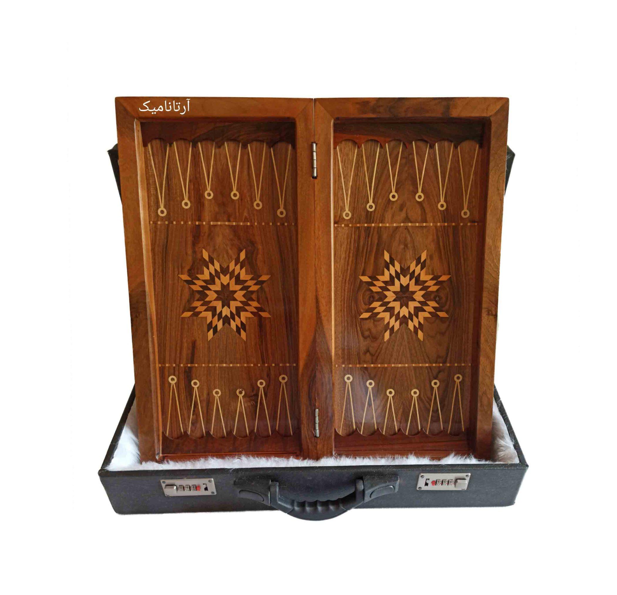 داخل تخته نرد منبت کاری طرح برباد، تخته نرد کادویی و تخته نرد نفیس، ساخته شده از چوب گردو