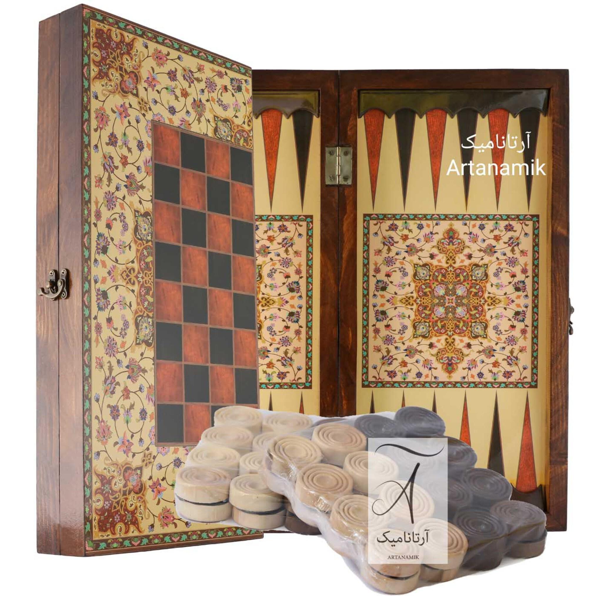 خرید تخته نرد و شطرنج کادویی طرح ترنج، تخته نرد کادویی، تخته نرد نفیس از جنس چوب روس