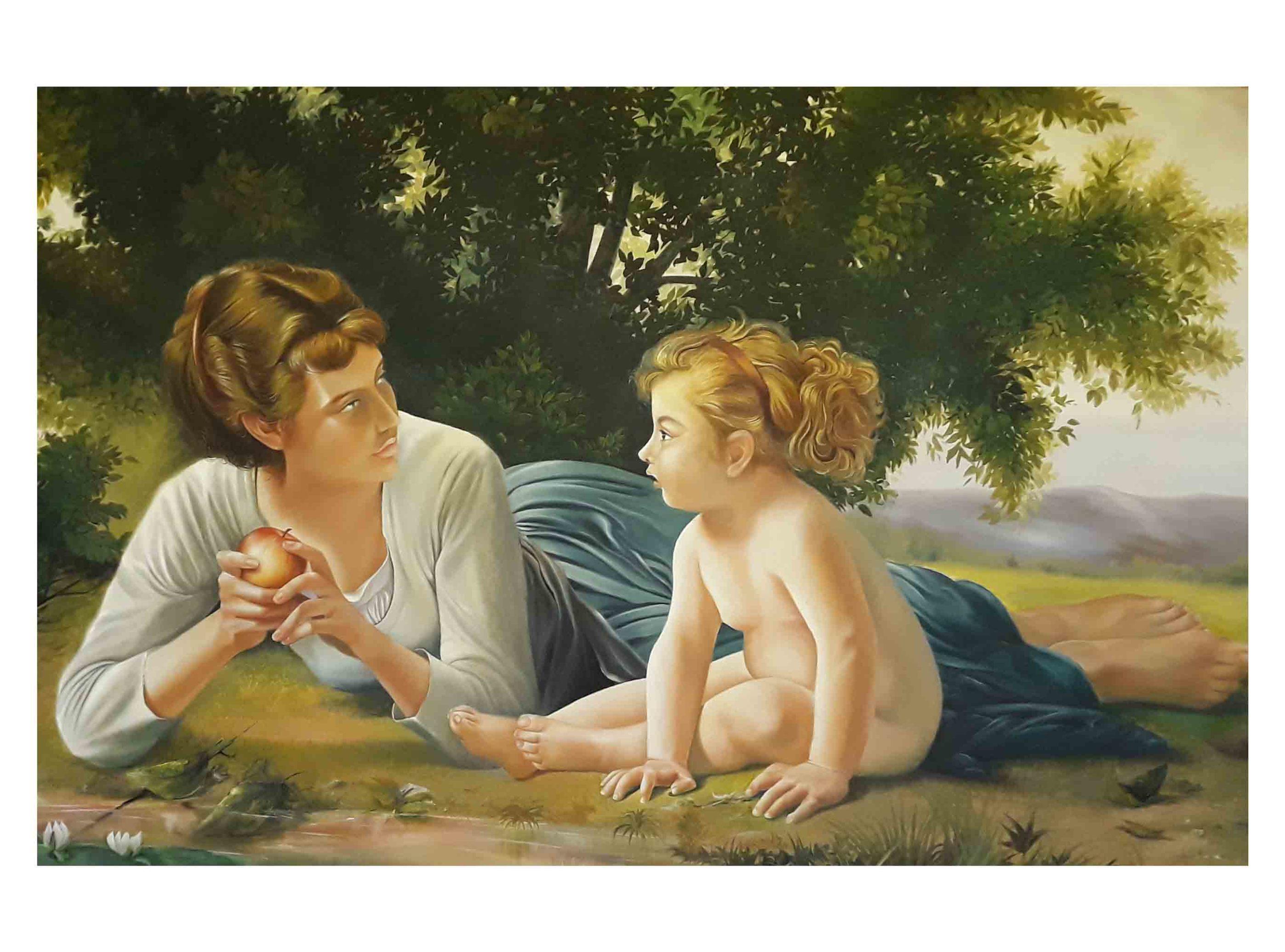 تابلو نقاشی مادر و دختر به سبک رئالیسم، تکنیک رنگ روغن