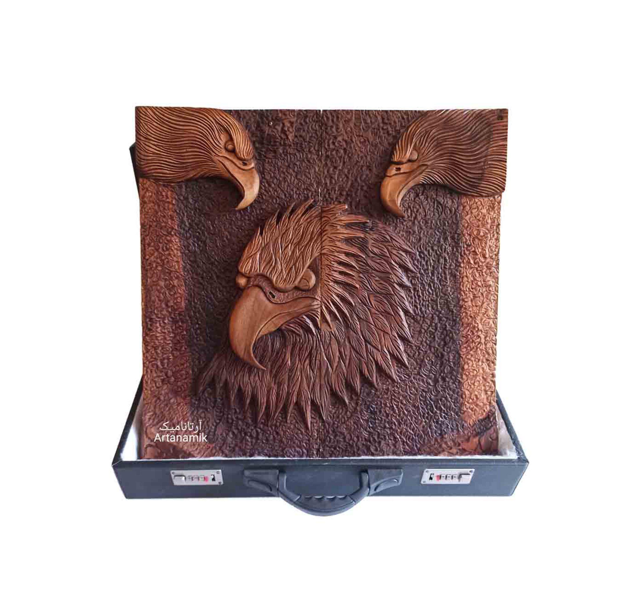 تخته نرد منبت طرح سه عقاب روی چوب گردو