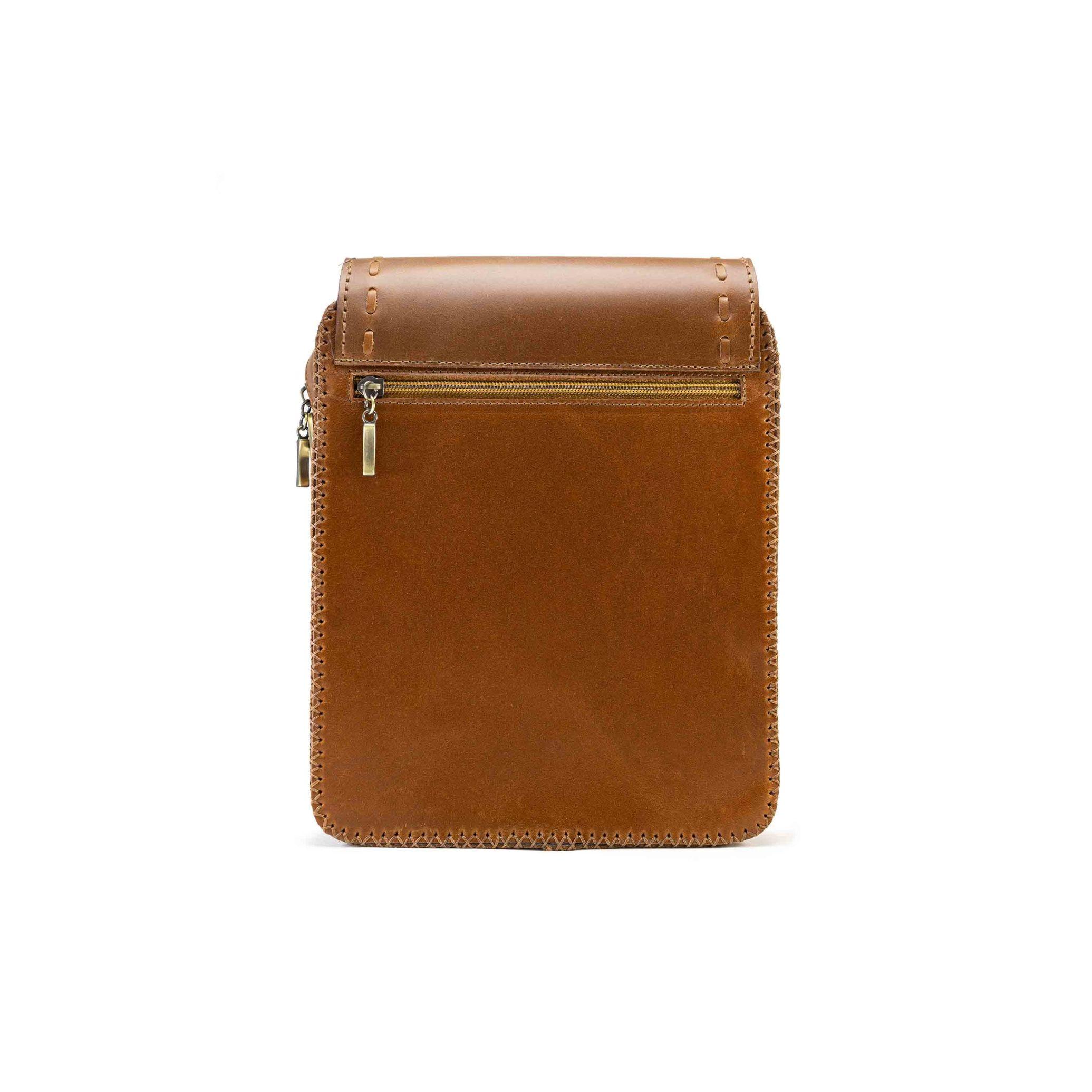 کیف چرم طبیعی حمایلی مردانه مدل تریشه بافی