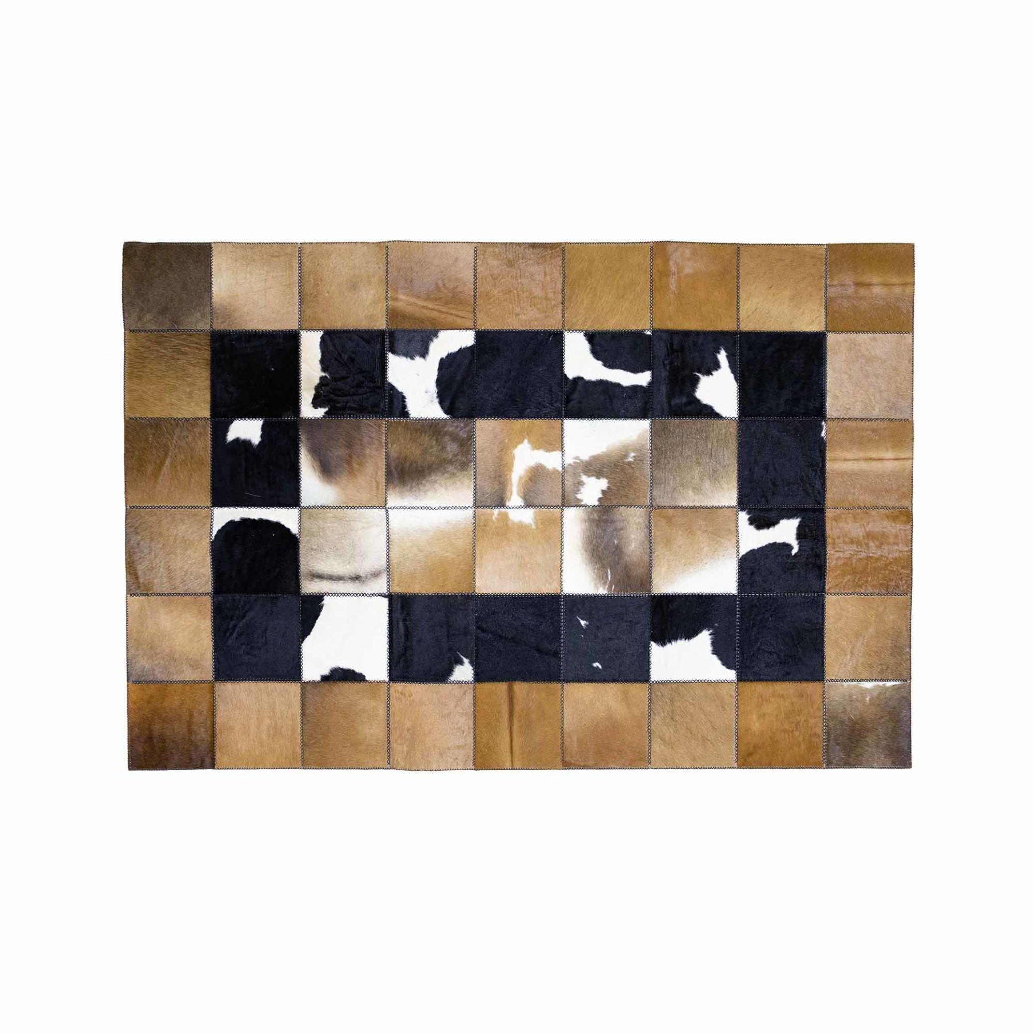فرش چرم طبیعی دست دوز مدل شطرنجی