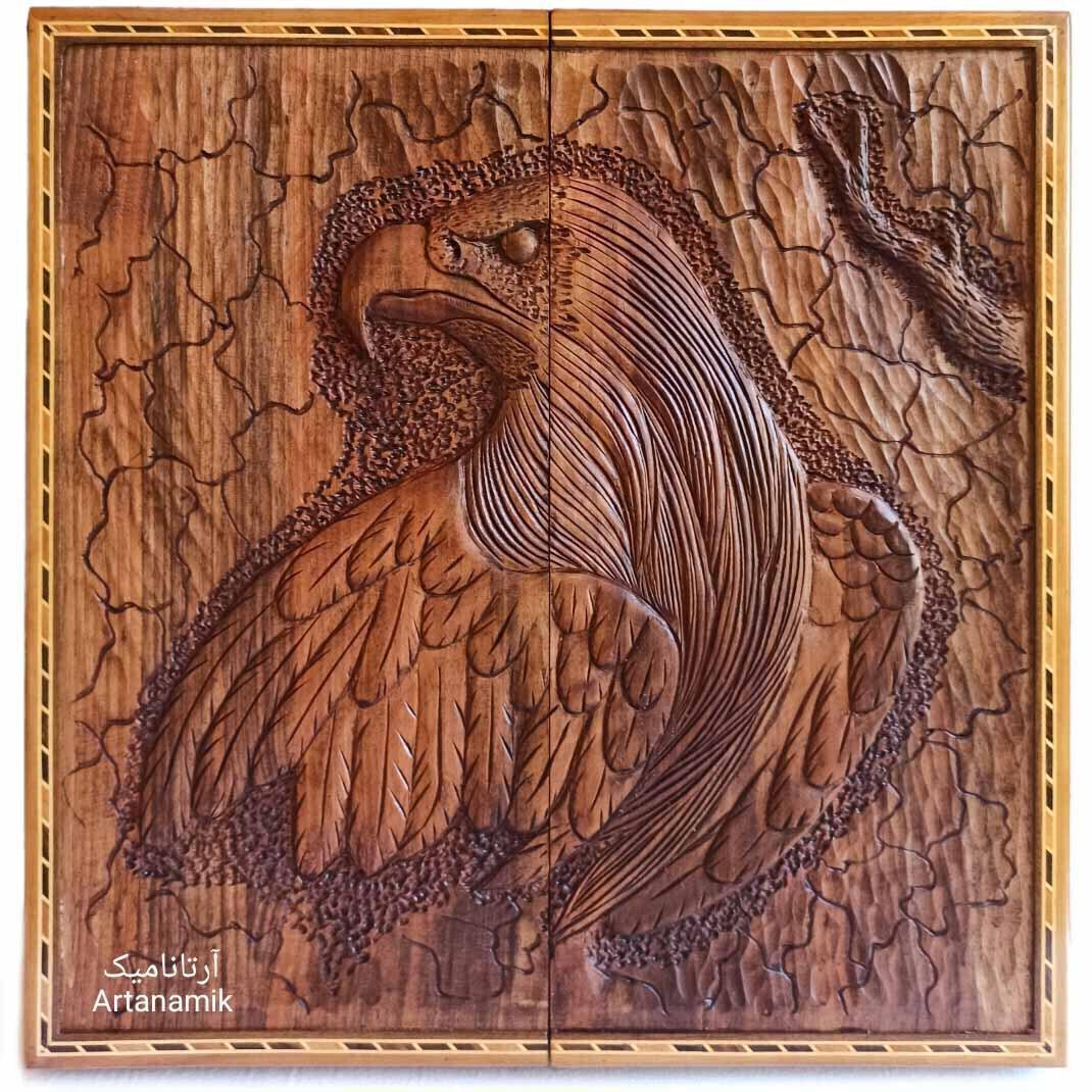 تخته نرد منبت کاری طرح عقاب، تخته نرد کادویی و تخته نرد نفیس روی چوب گردو