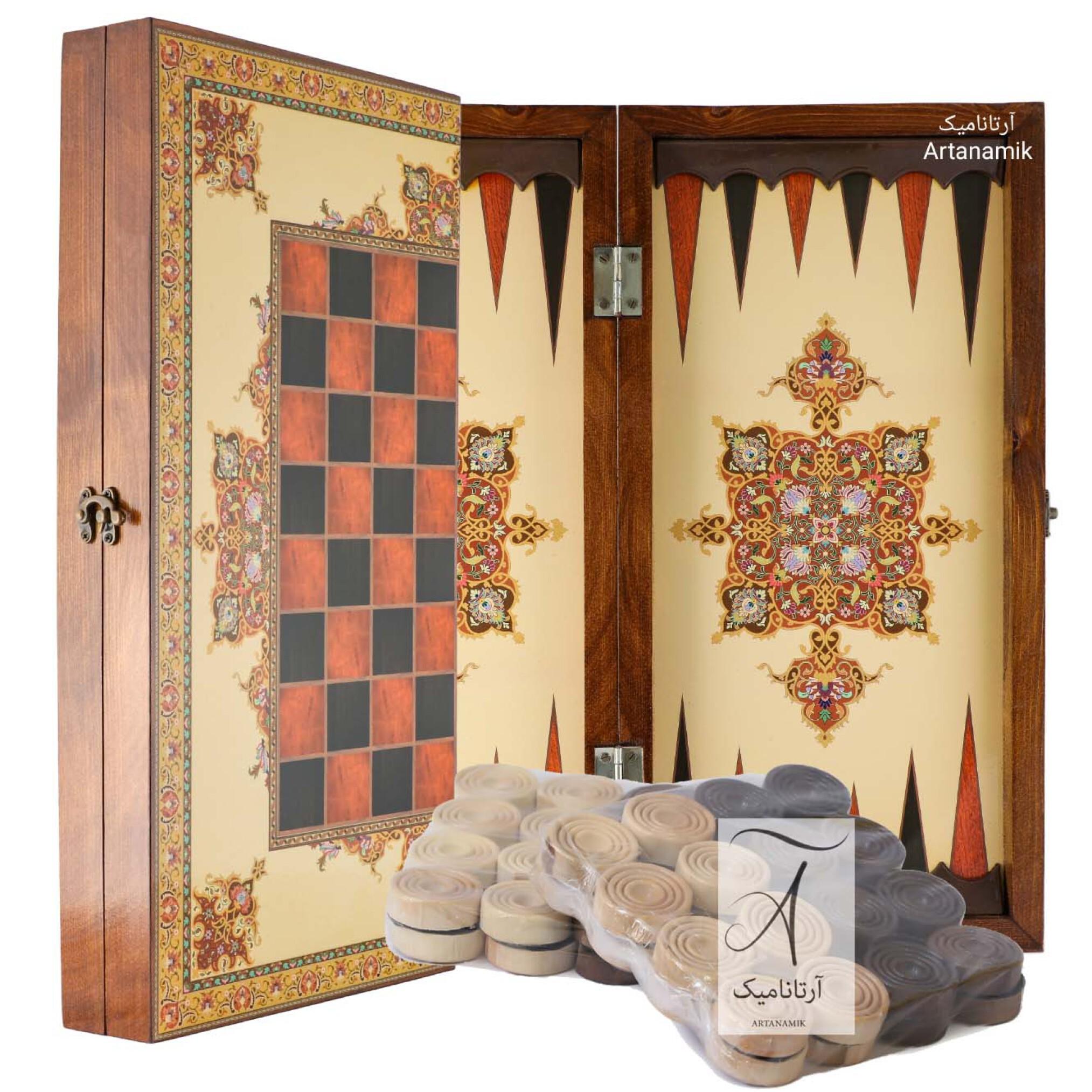 خرید تخته نرد و شطرنج کادویی طرح فرش، تخته نرد کادویی و تخته نرد نفیس از جنس چوب روس