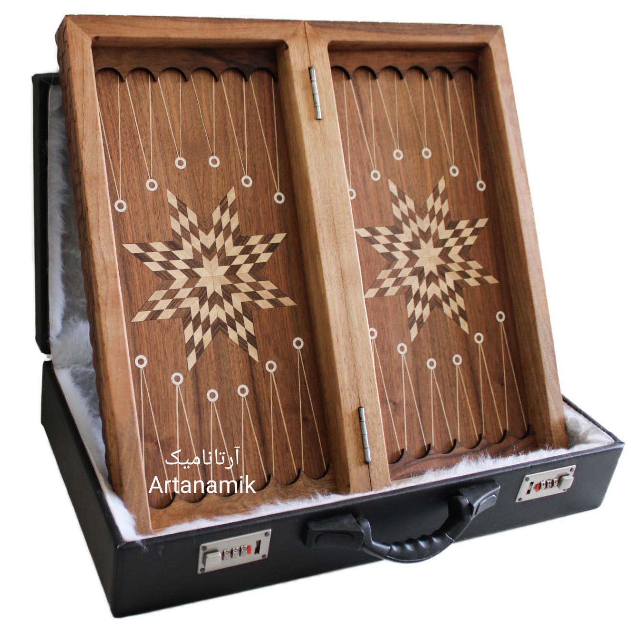 داخل تخته نرد منبت کاری پاسارگاد، خرید تخته نرد کادویی و تخته نرد نفیس روی چوب گردو