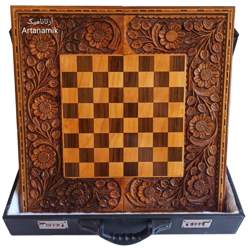 تخته نرد و شطرنج منبت کاری شده روی چوب گردو تخته نرد کادویی و تخته نرد نفیس