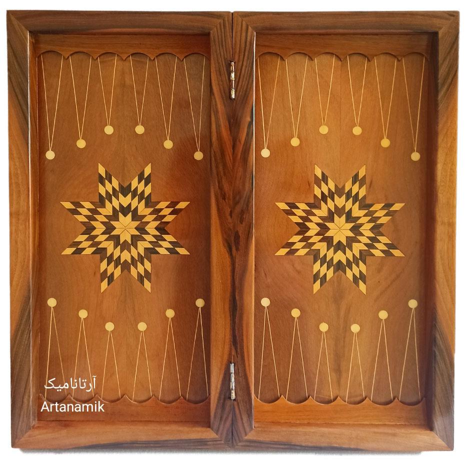 داخل تخته نرد منبت کاری طرح شاعر، تخته نرد کادویی و تخته نرد نفیس روی چوب گردو
