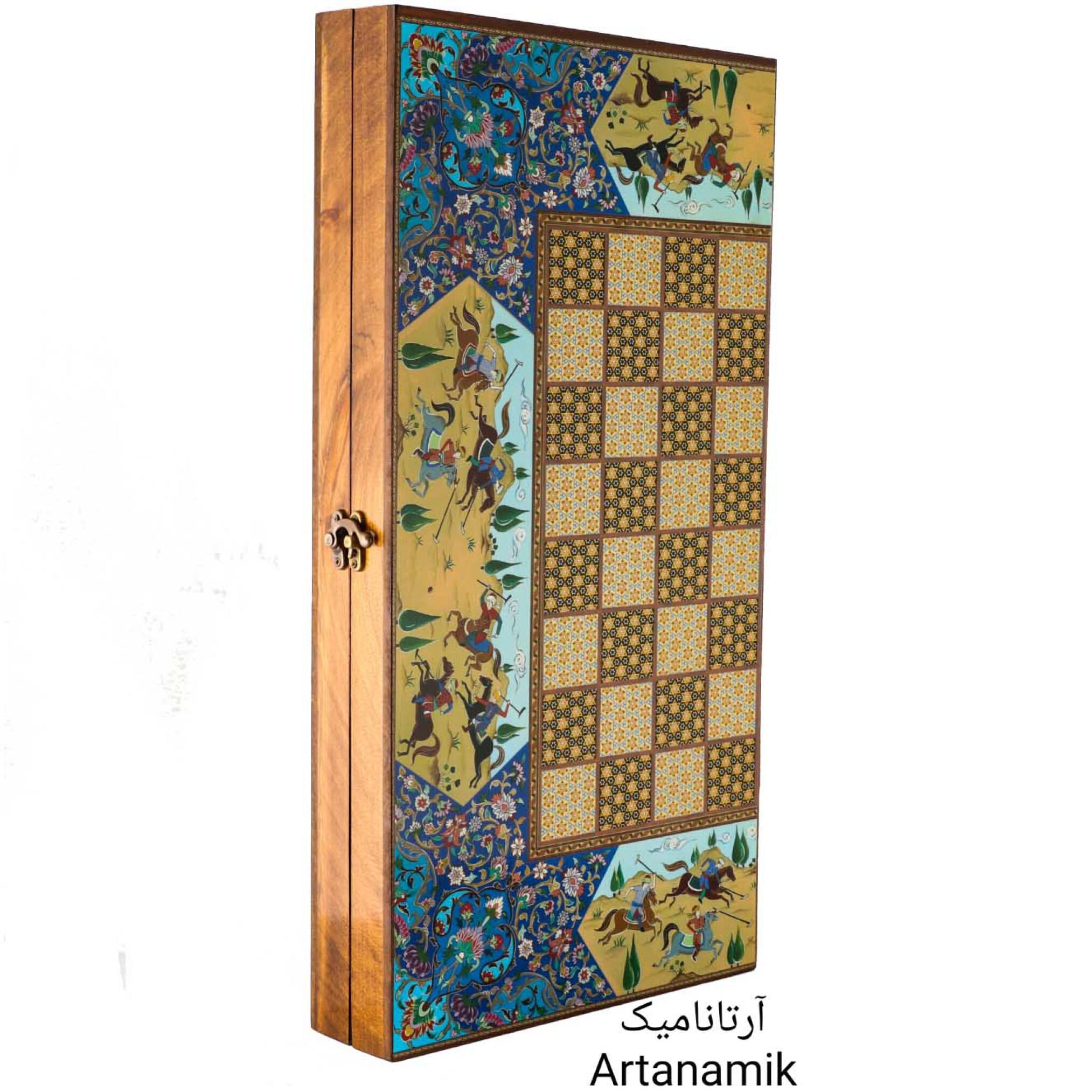 تخته نرد و شطرنج طرح خاتم چوگان آبی، تخته نرد کادویی و تخته نرد نفیس از جنس چوب روس