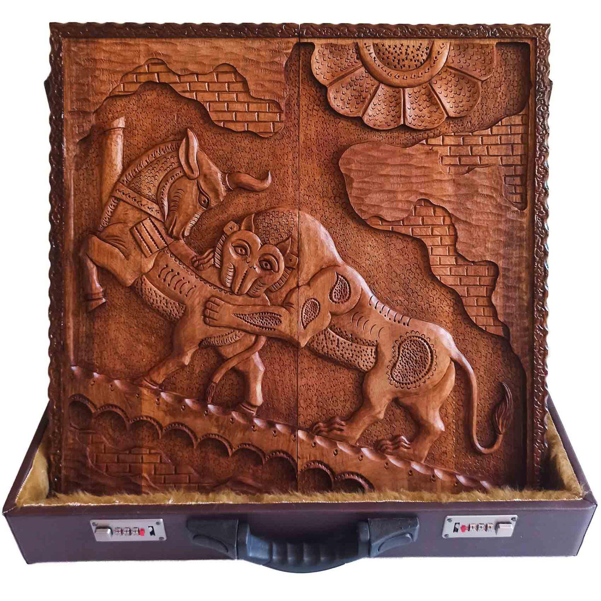 تخته نرد منبت کاری طرح هخامنشی نبرد، تخته نرد کادویی و تخته نرد نفیس، ساخته شده از چوب گردو