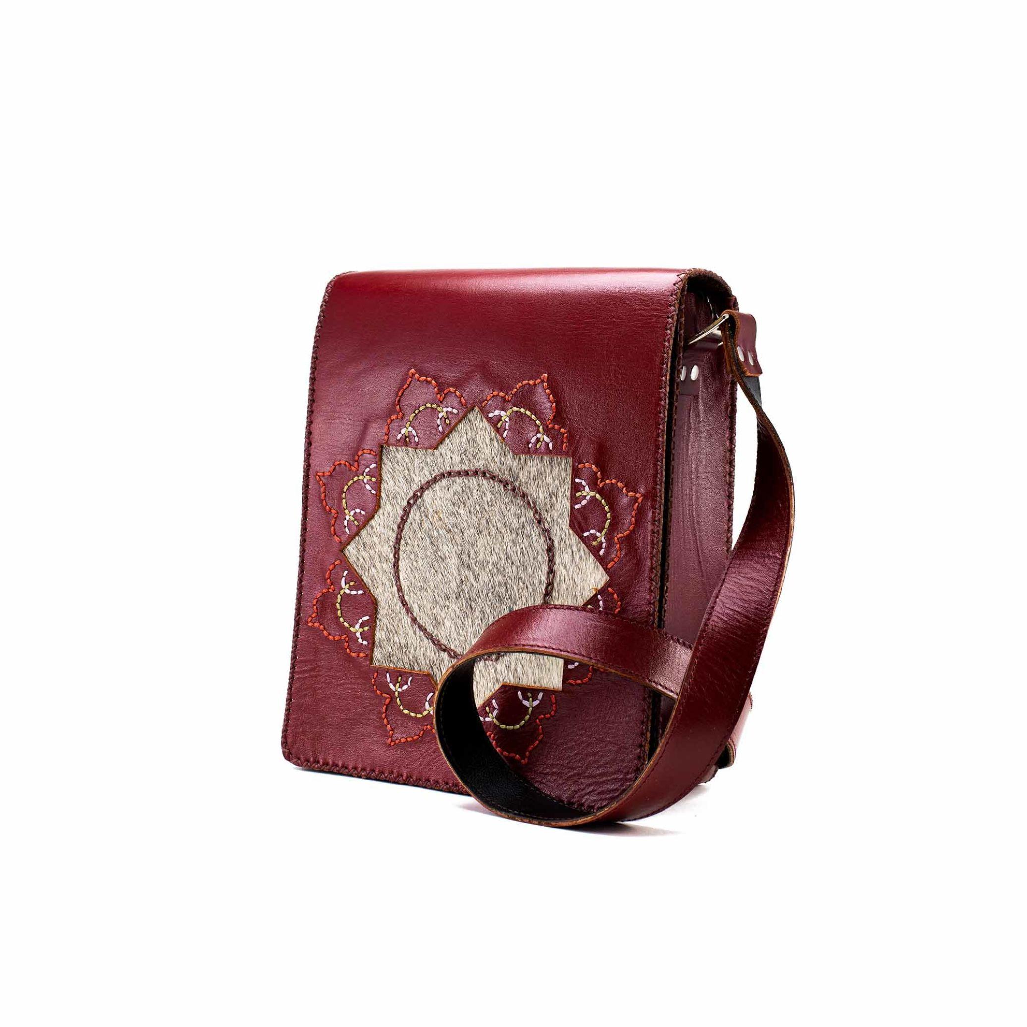 کیف چرم طبیعی حمایلی زنانه شمسه