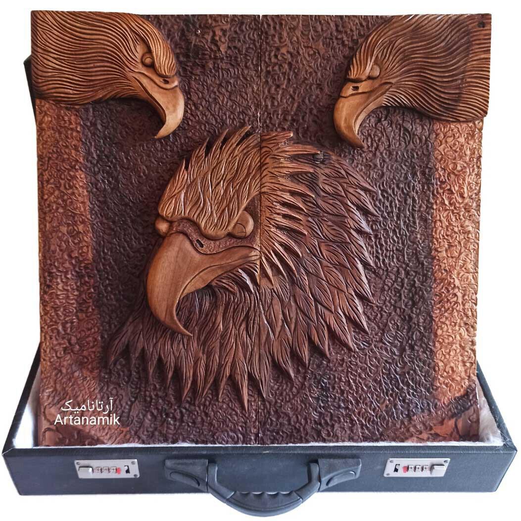 تخته نرد منبت کاری طرح سه عقاب، تخته نرد کادویی و تخته نرد نفیس روی چوب گردو