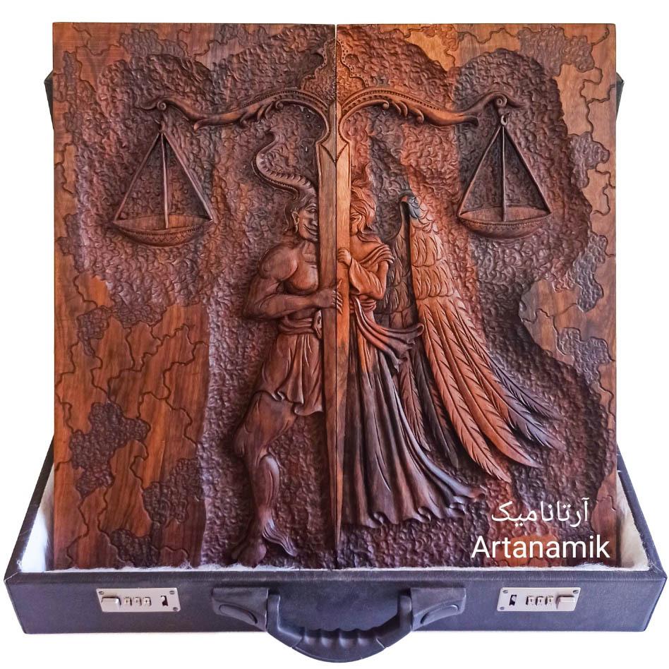 تخته نرد منبت کاری طرح میزان، تخته نرد کادویی و تخته نرد نفیس، ساخته شده از چوب گردو