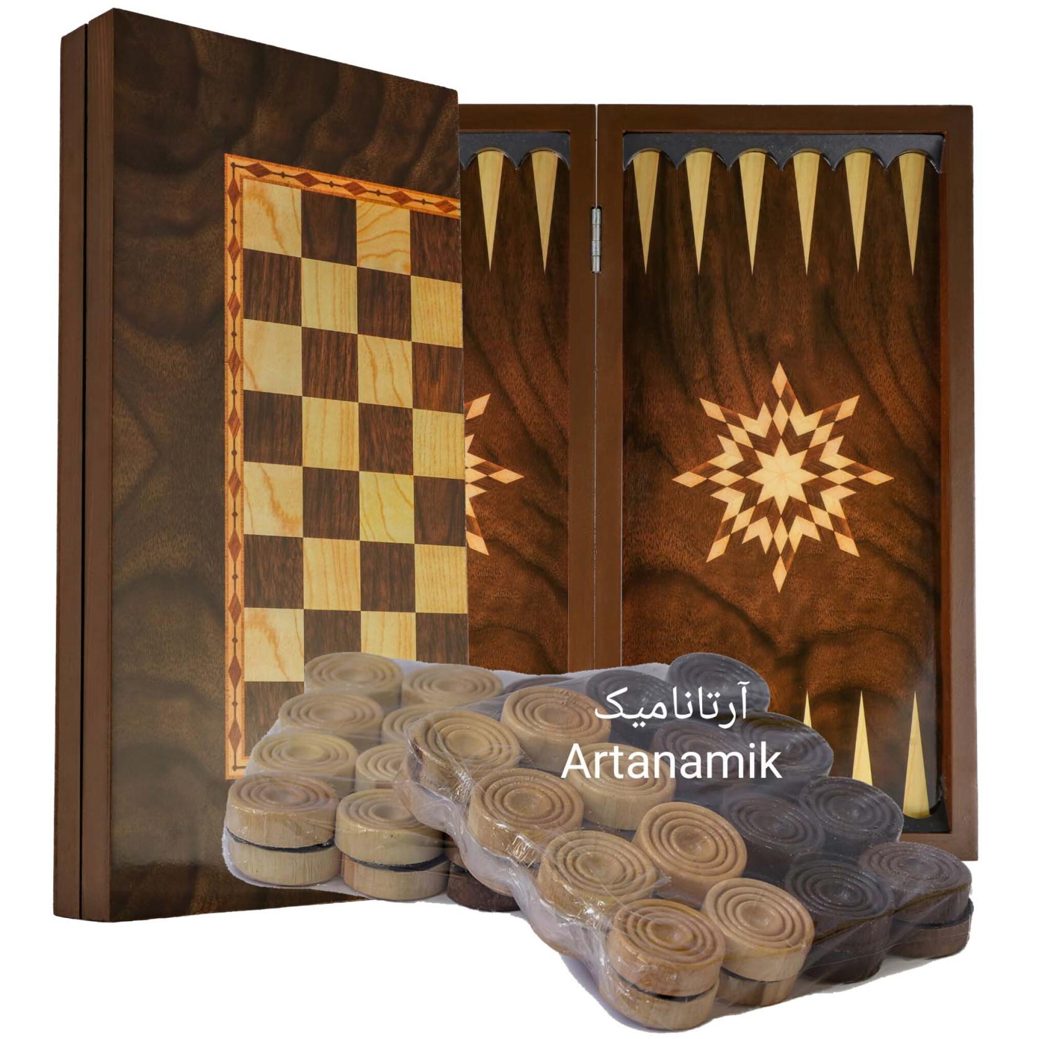 تخته نرد و شطرنج طرح گردو، تخته نرد کادویی و تخته نرد نفیس از جنس چوب روس