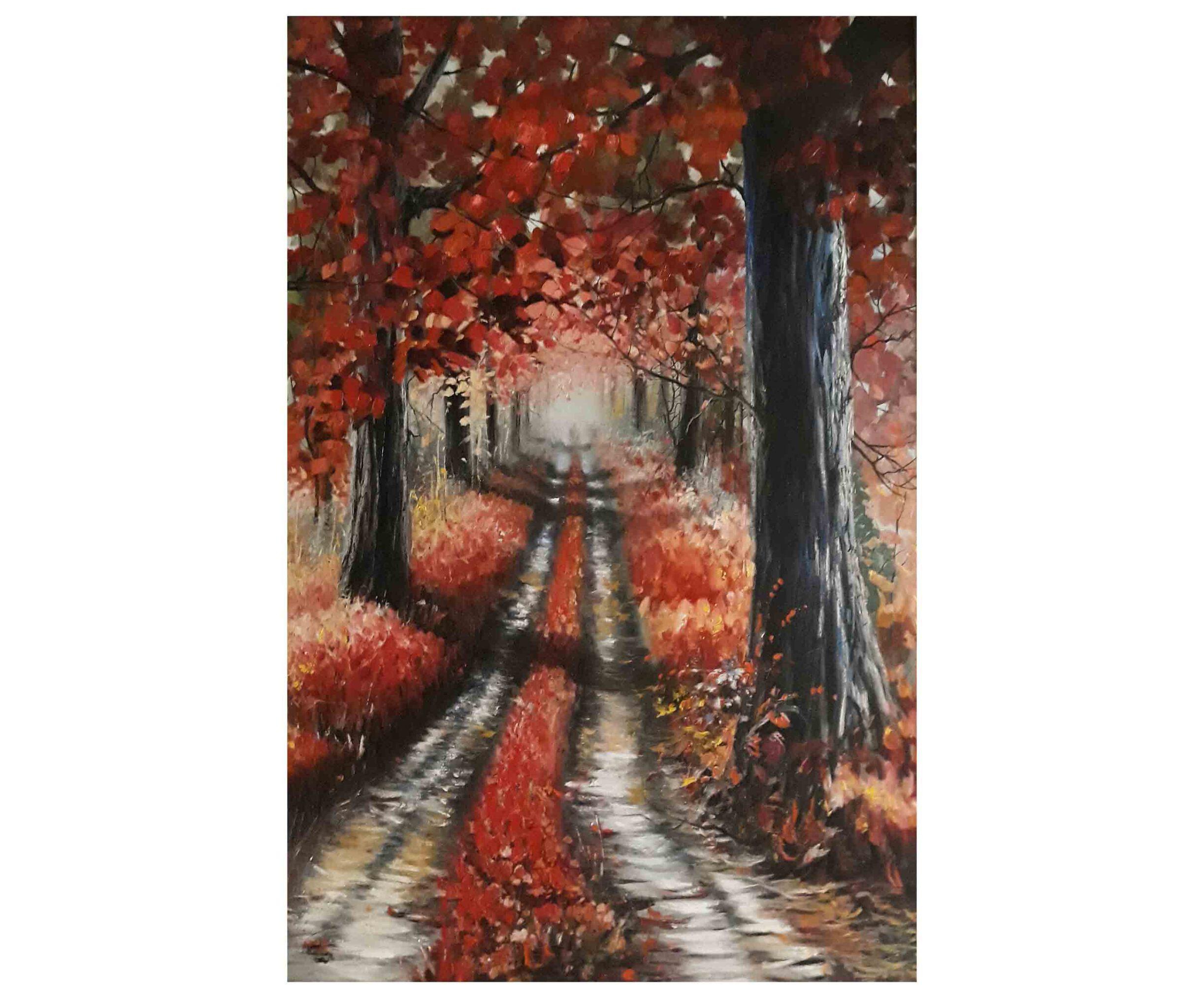 تابلو نقاشی طبیعت پاییزی به سبک امپرسیونیسم و با تکنیک رنگ روغن، تابلو نقاشی کادویی و تابلو نقاشی دکوری