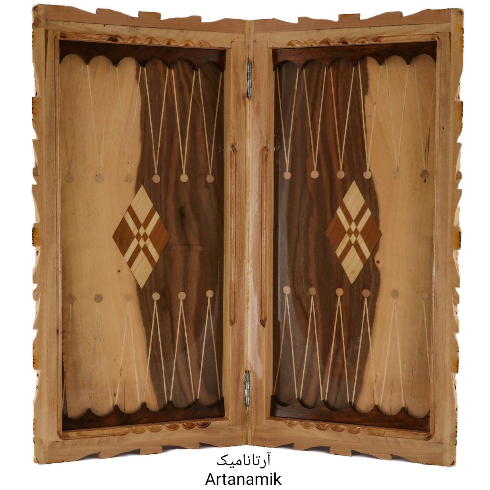 داخل تخته نرد و شطرنج منبت کاری شده، تخته نرد کادویی و تخته نرد نفیس، ساخته شده از چوب گردو